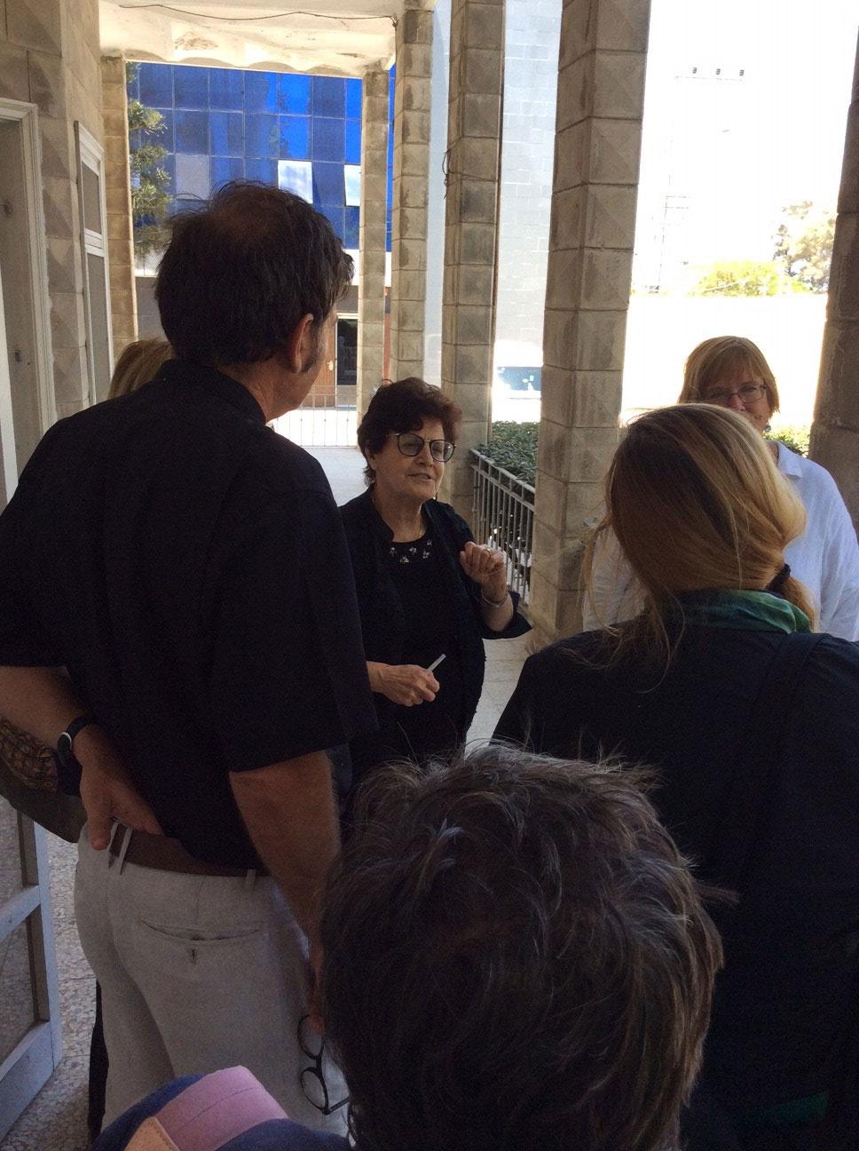 Ms. Suhaila Tarazi with our ecumenical delegation at the Ahli Arab Hospital, Gaza.