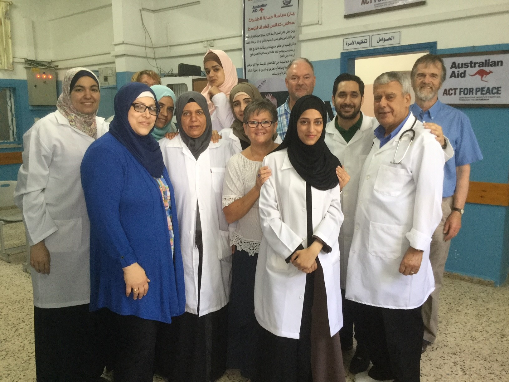 The medical staff, doctors, pharmacist, midwives and healthcare workers of the Near East Council of Churches in Rafah, Gaza.