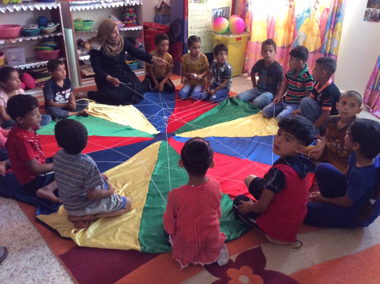 Palestinian children participate in psychosocial therapy at the Near East Council of Churches Clinic in Rafah, Gaza.