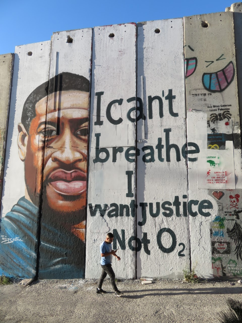 An image of George Floyd, painted on the Bethlehem side of Israel's Separation Barrier/Wall.