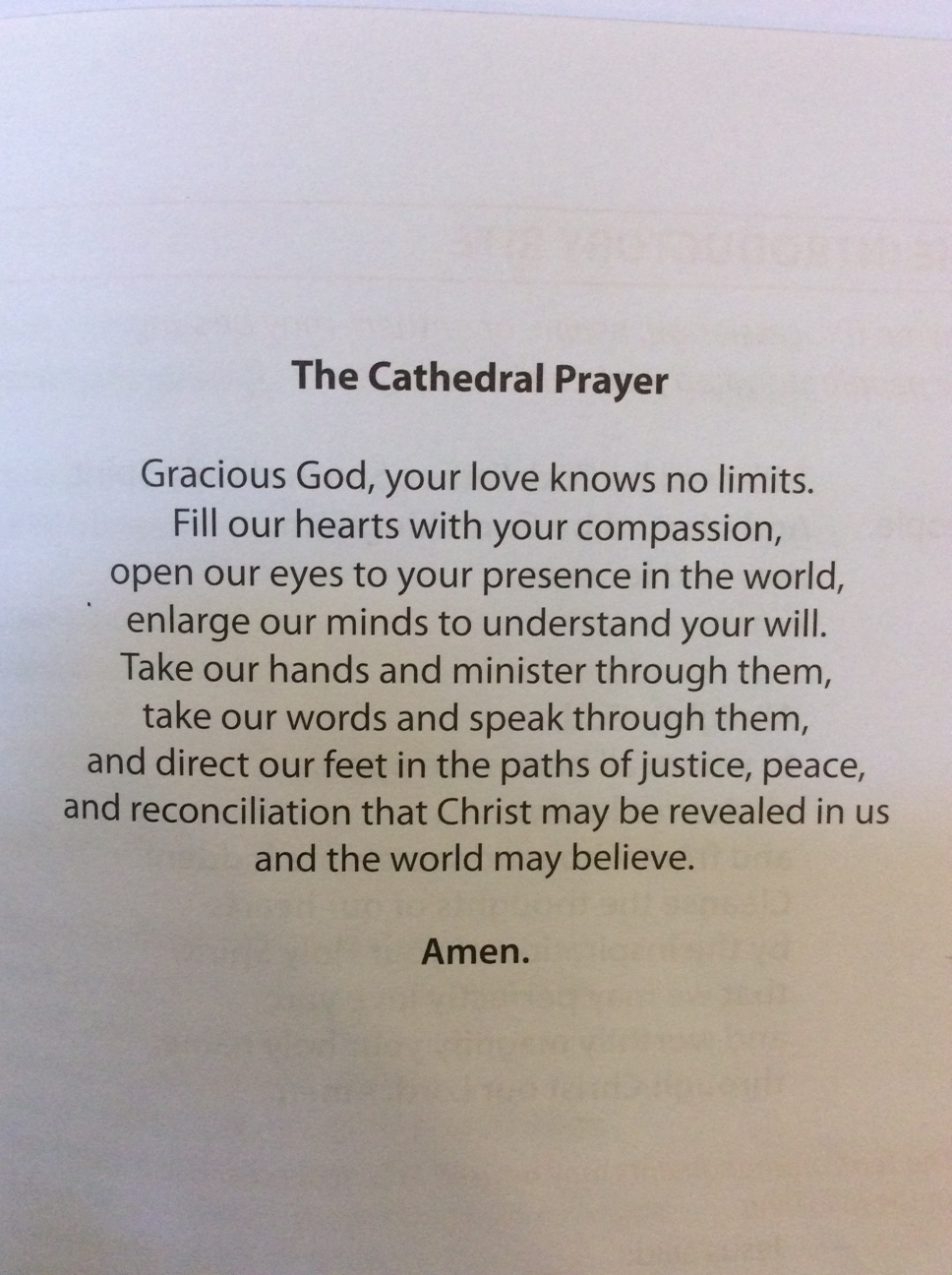 The cathedral prayer of the Cathedral Church of St. George the Martyr in Jerusalem.
