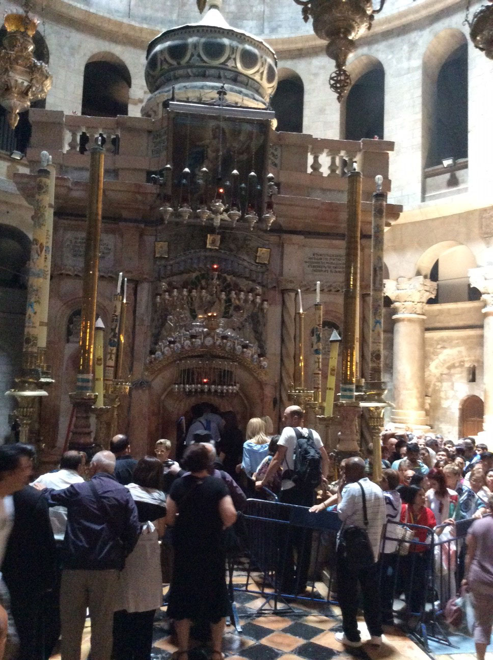 Crowds queue for a chance to step inside of the Edicule or Tomb of Christ.