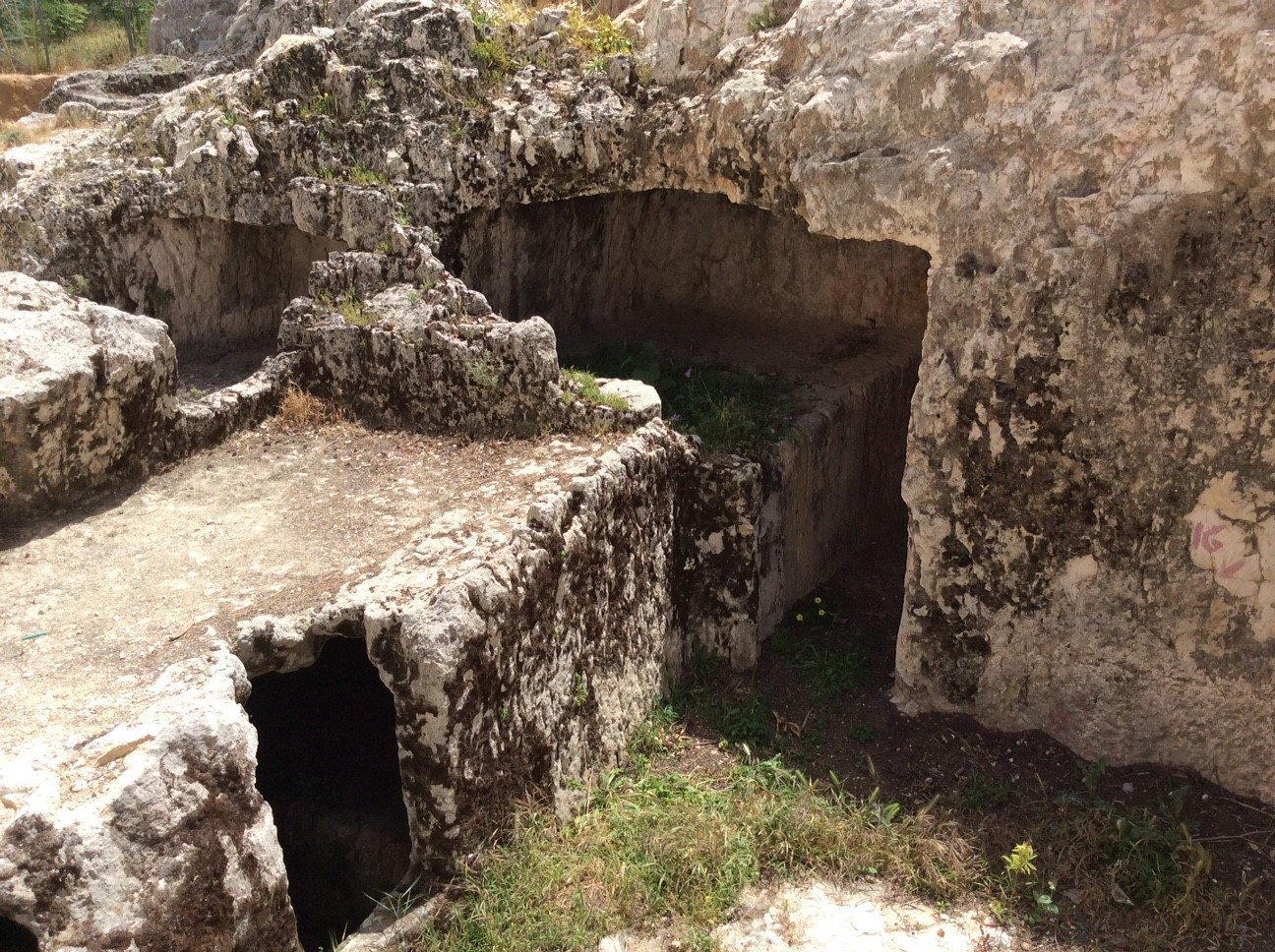 Burial caves from the First Temple Period (960 B.C.–586 B.C.) on the hillside next to St. Andrew's Scots Memorial Church, Jerusalem.