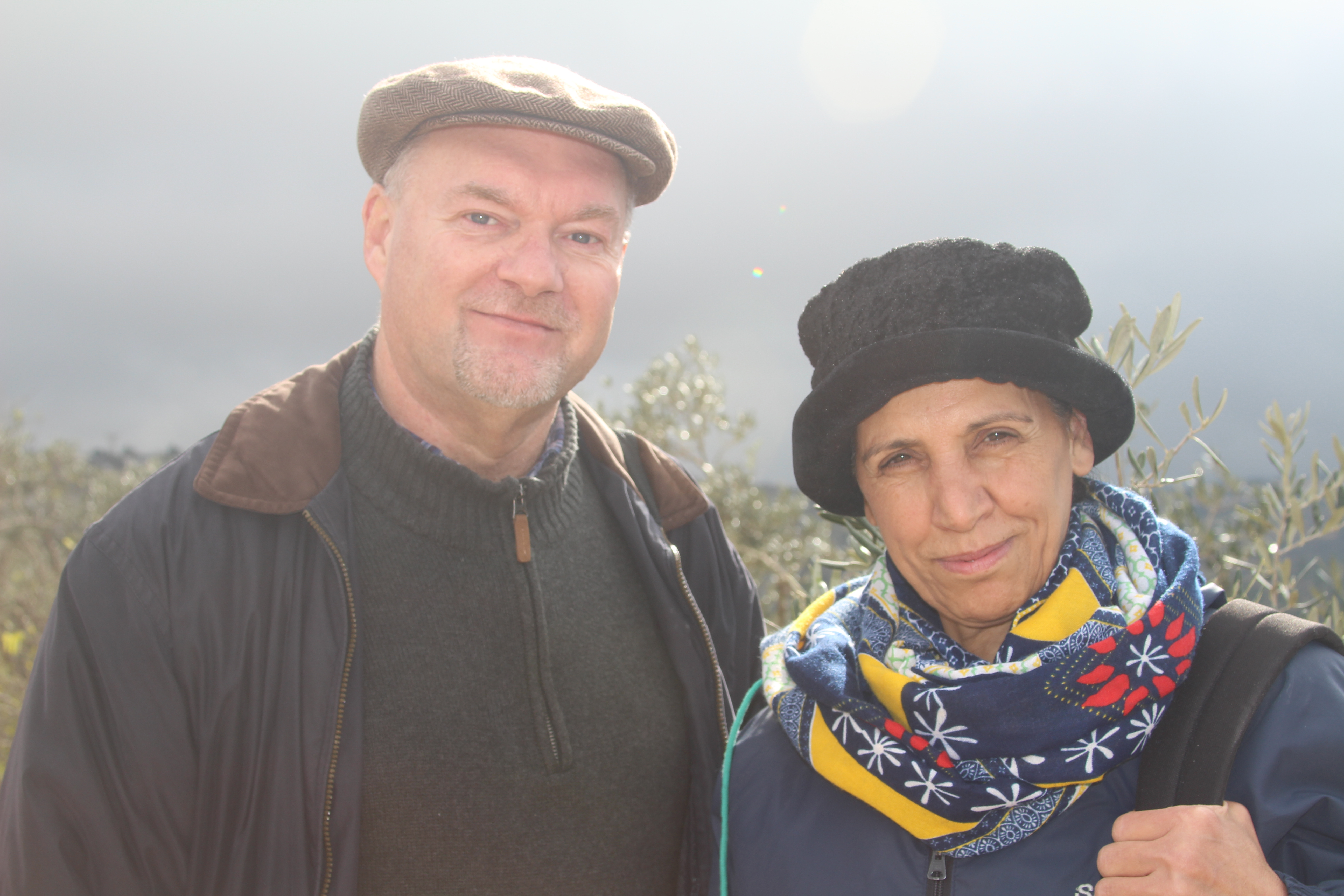 """Doug with Amal Nasar, Daoud's sister. A nurse at the Caritas Baby Hospital in Bethlehem, Amal (whose name means """"hope"""") served as on the International Peacemakers on behalf of the Presbyterian Peacemaking Program in the Fall of 2018. Photo: Rev. Kristen L. Brown"""