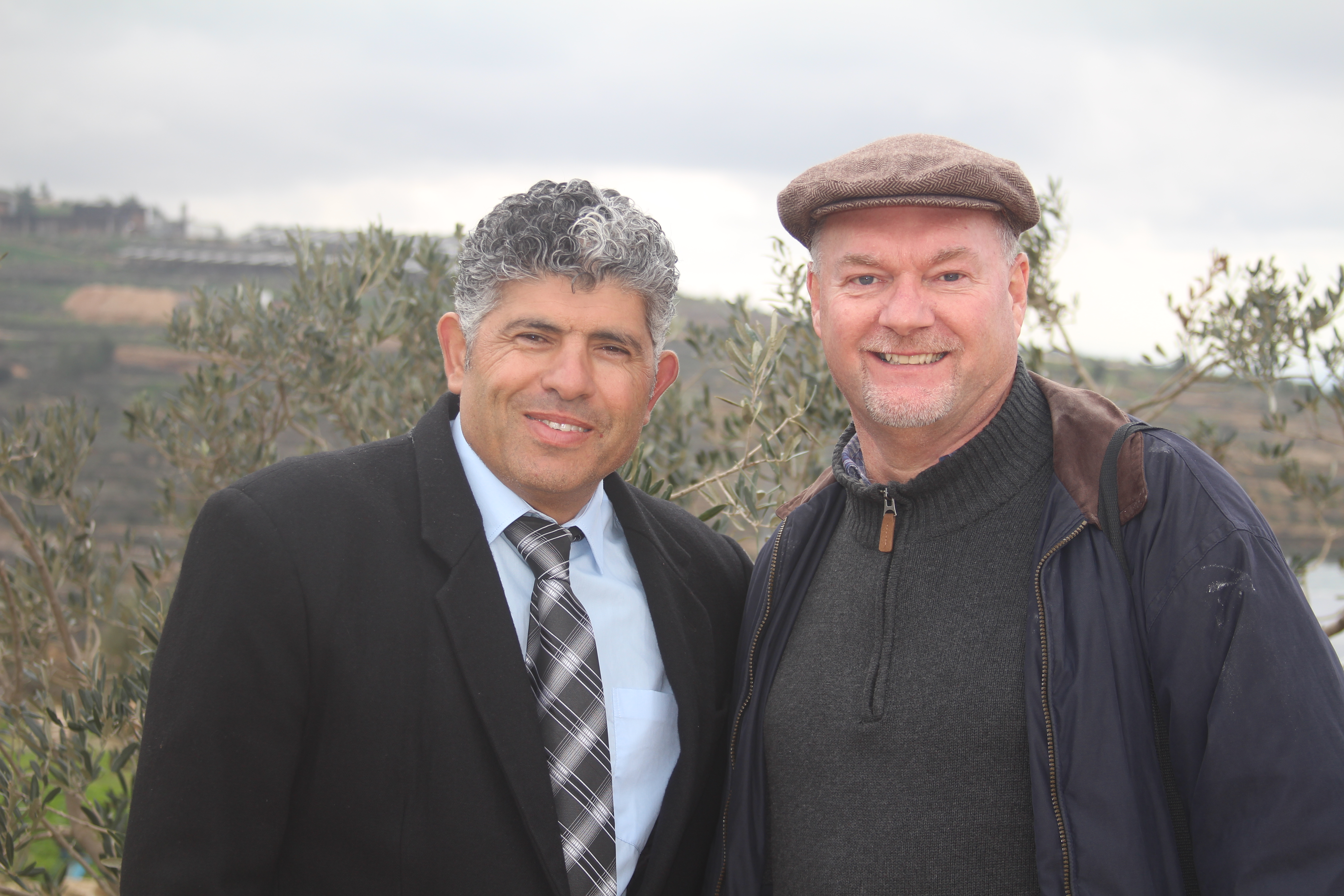 Doug with Daoud Nassar on the day the family received a joint German/Finnish Peace Prize for their work and commitment to peace and non-violence. Photo: Rev. Kristen L. Brown