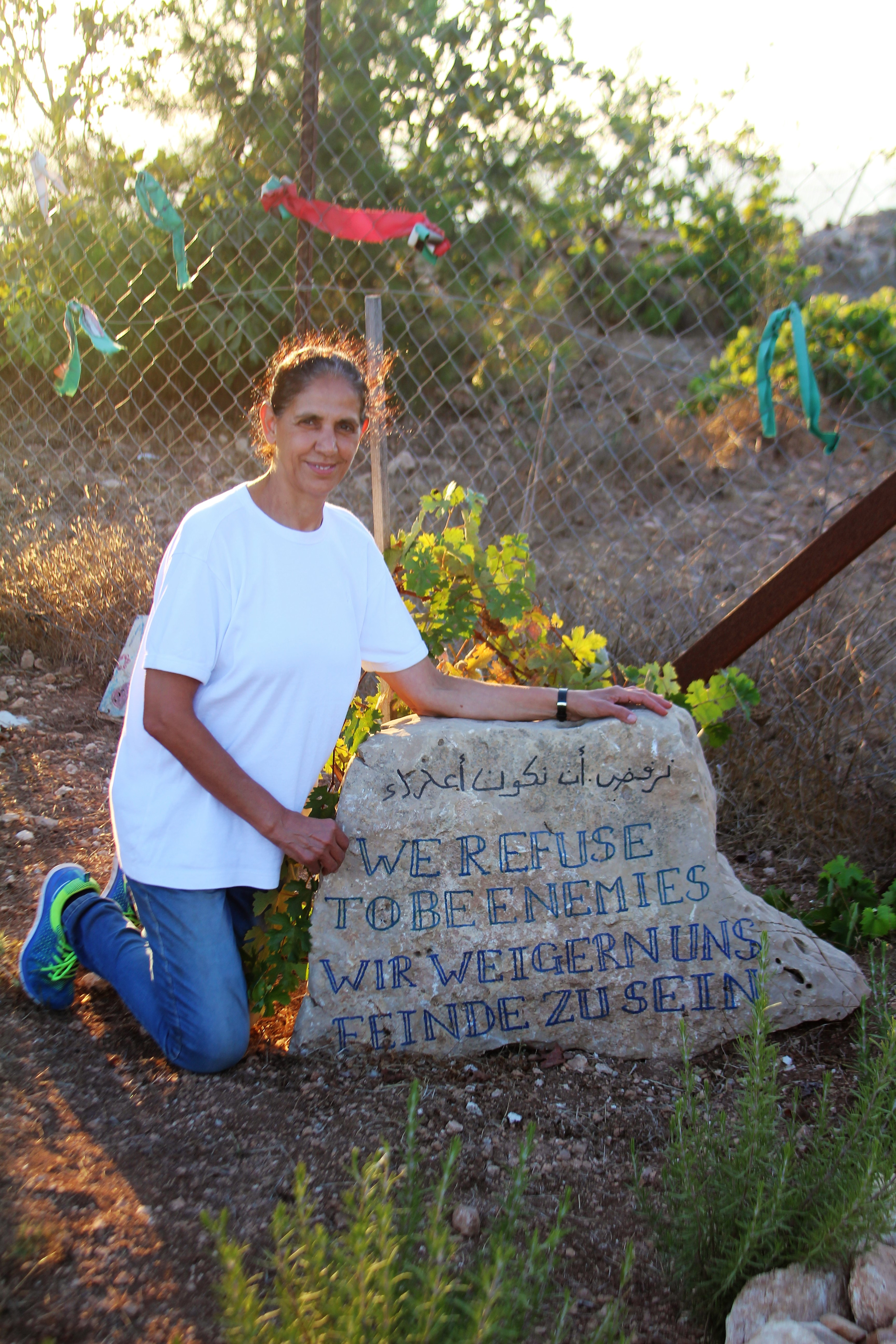 """Amal Nassar. """"We Refuse to be Enemies"""" is the slogan that the Nassar family has adopted. Photo: Rev. Kristen L. Brown"""