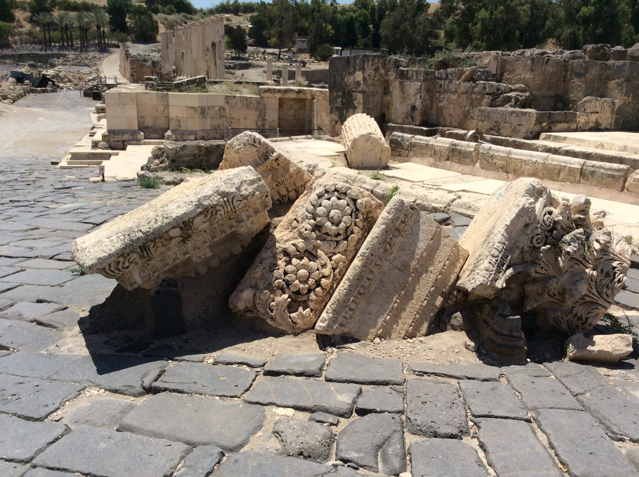 The ruins of Scythopolis (Beit Shean). A major earthquake in 749 A.D. toppled this once magnificent city with devastating consequences.