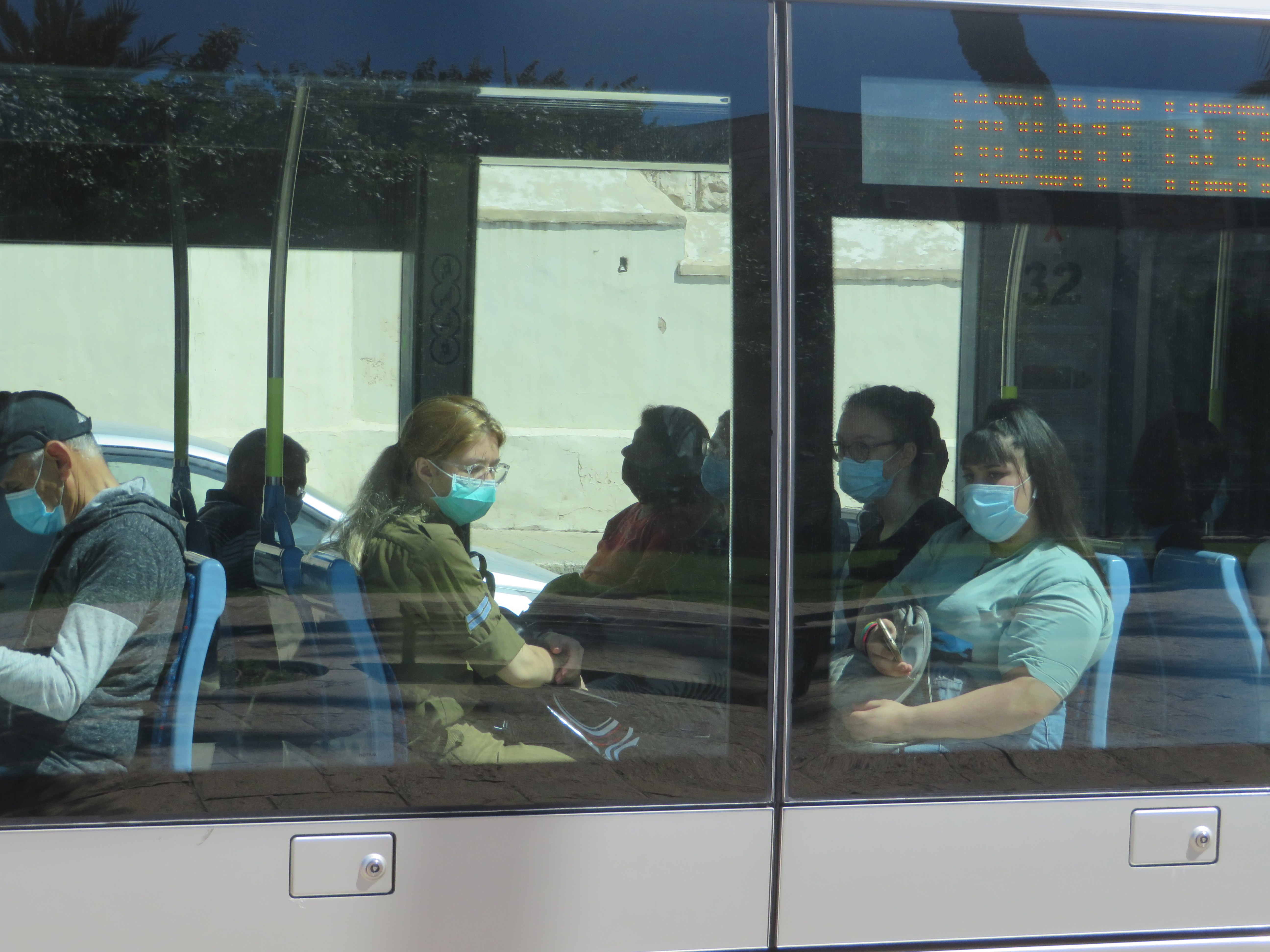 Jerusalem's lite rail line and all public transportation require that masks be worn for the safety of all.