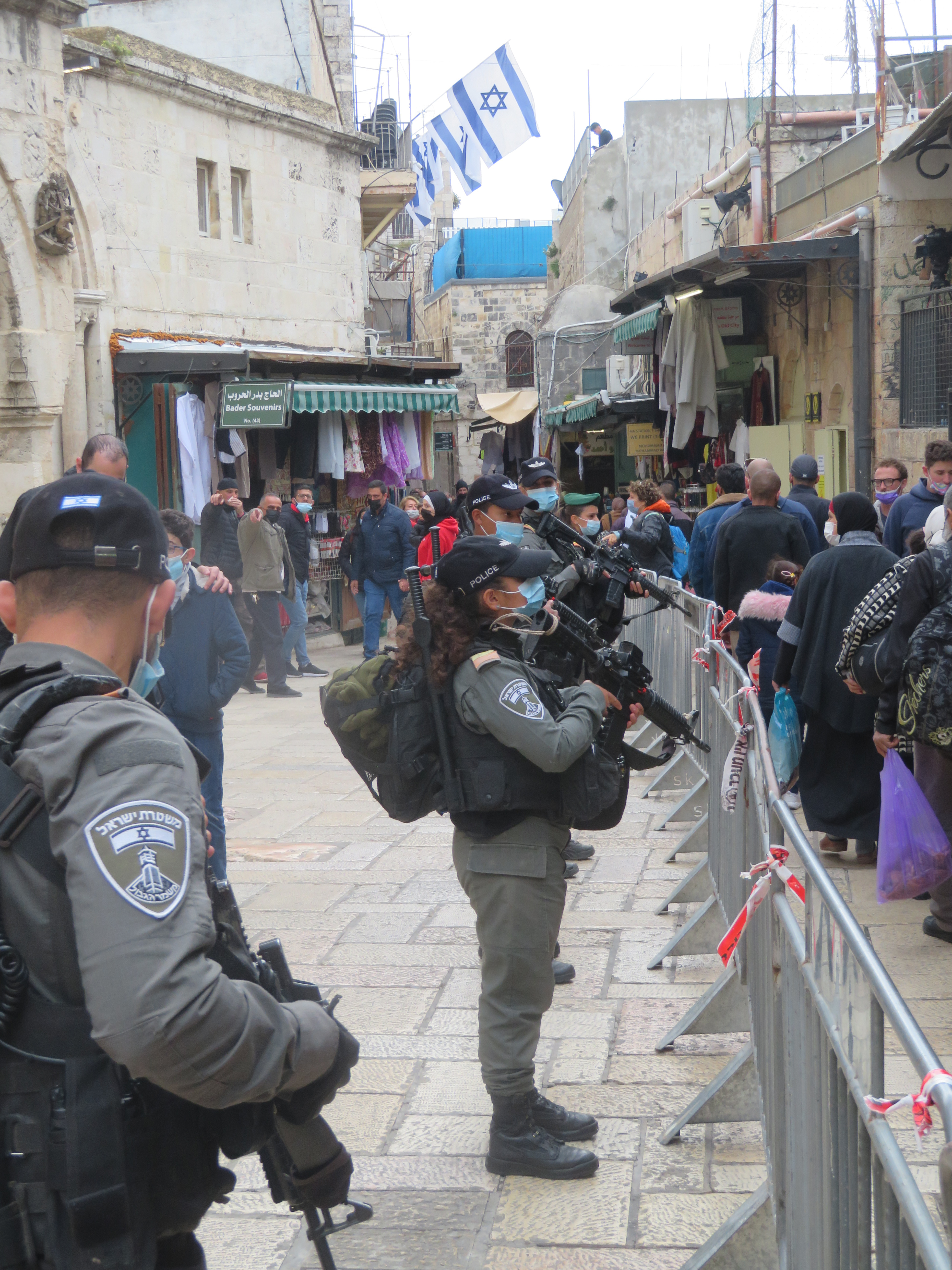 A heavier-than-needed Israeli police was present for a lighter-than-usual crowd on Good Friday in Jerusalem.