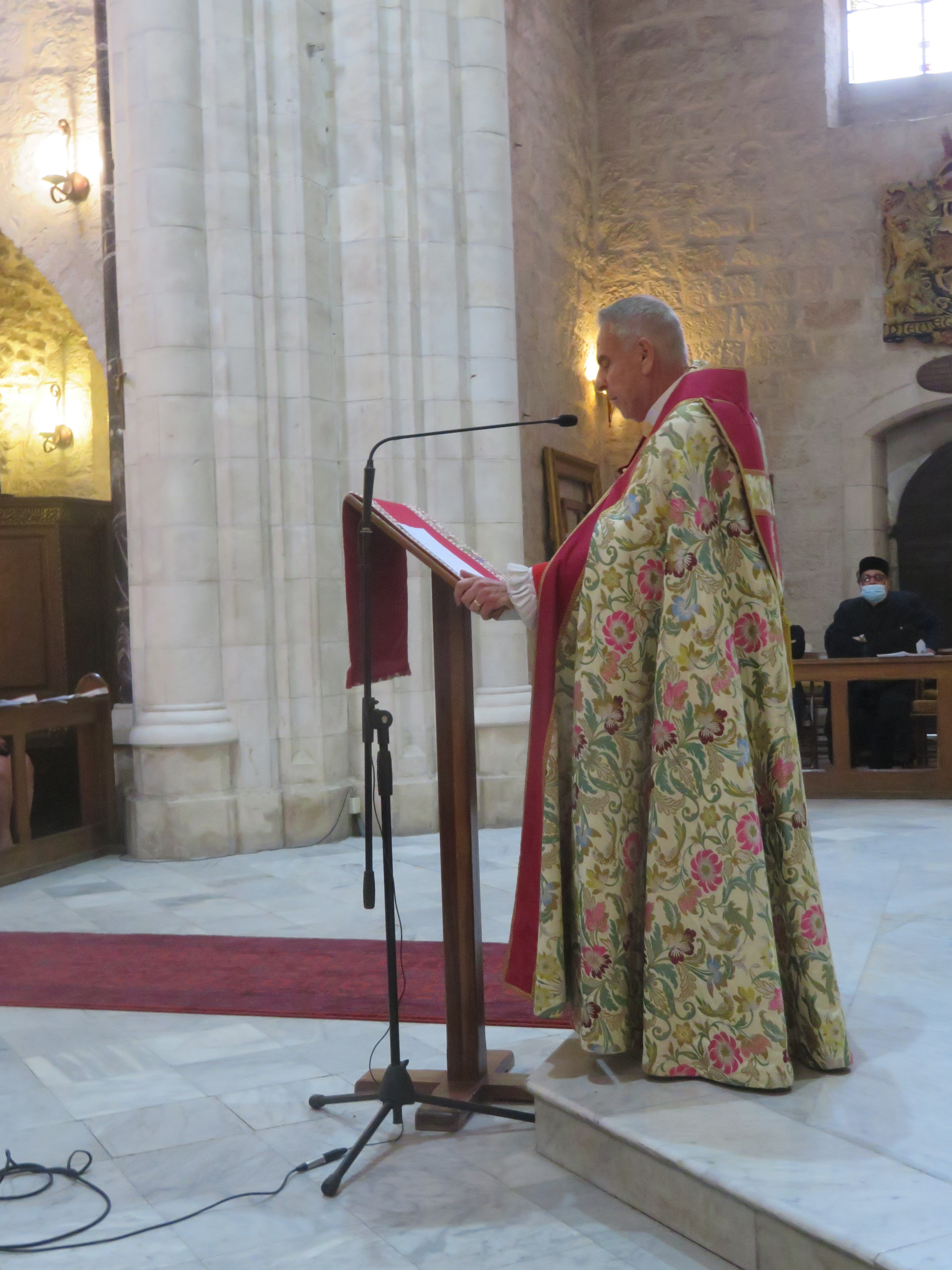 Archbishop Suheil Dawani delivers his final message to his congregation and well-wishers at St. George's Cathedral in Jerusalem.