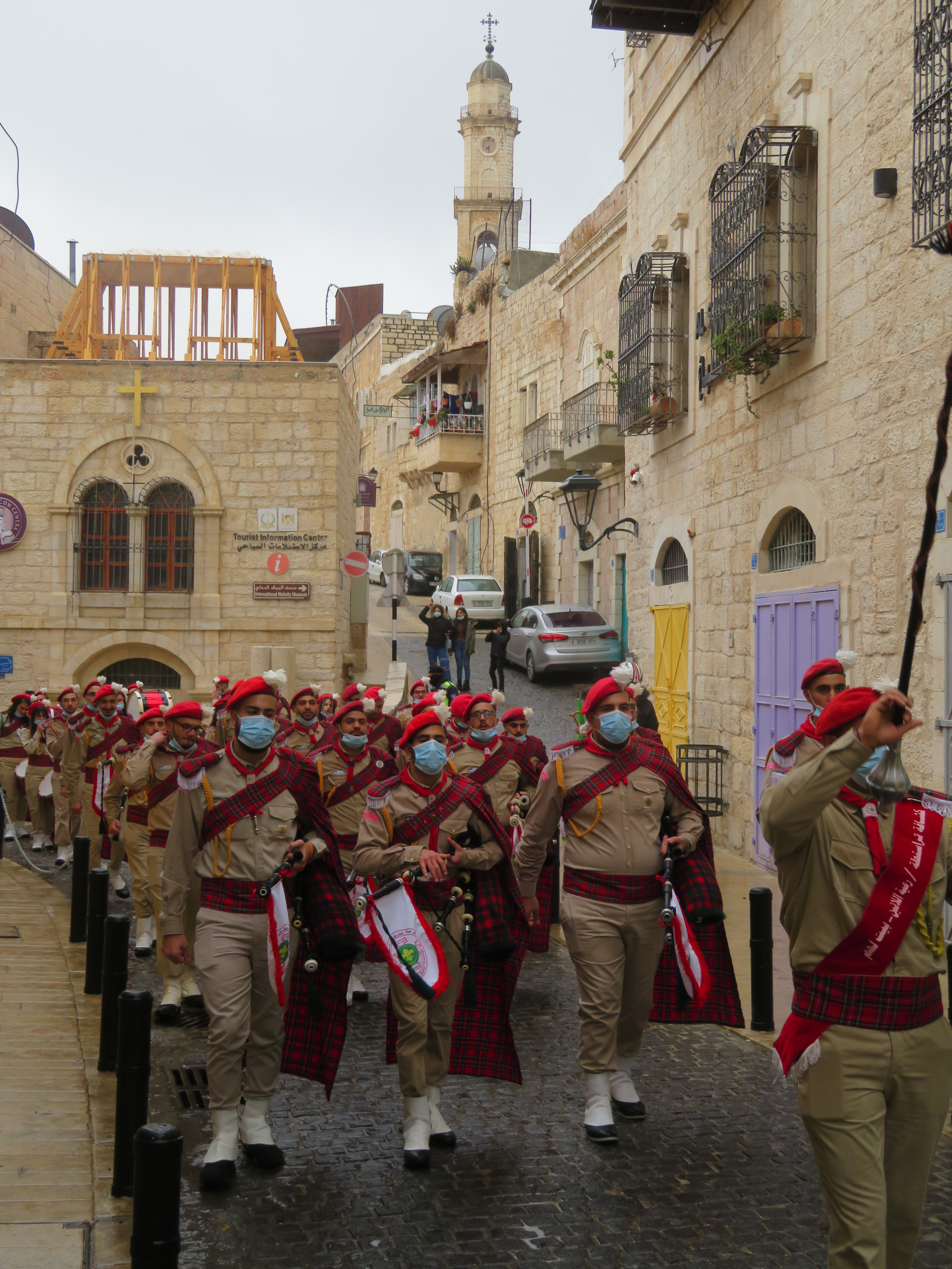 Palestinian Scout Troops make their way along Star Street on Christmas Eve morning in Bethlehem.