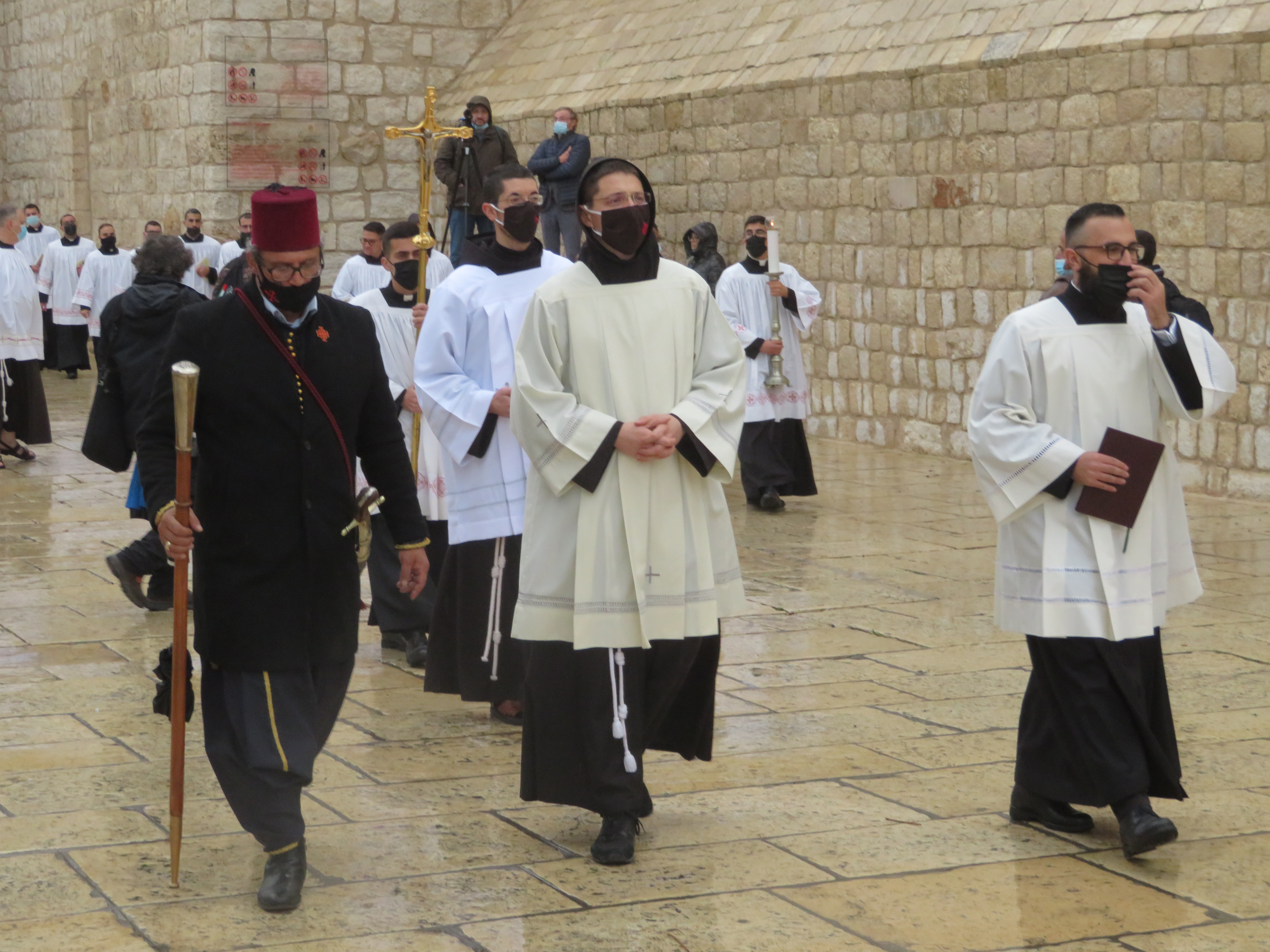 The start of the Franciscan Procession, from the Church of the Nativity to Manger Square on Christmas Eve