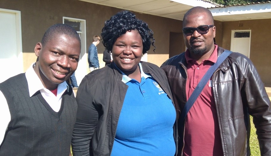 John from Malawi, Naomi from Zambia, and Willingmore from Zimbabwe – all students at Justo Mwale