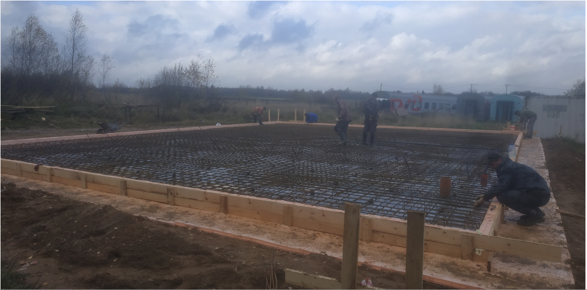 Construction of new community health center in Davydovo is underway. The floor is poured. The walls will go up soon.
