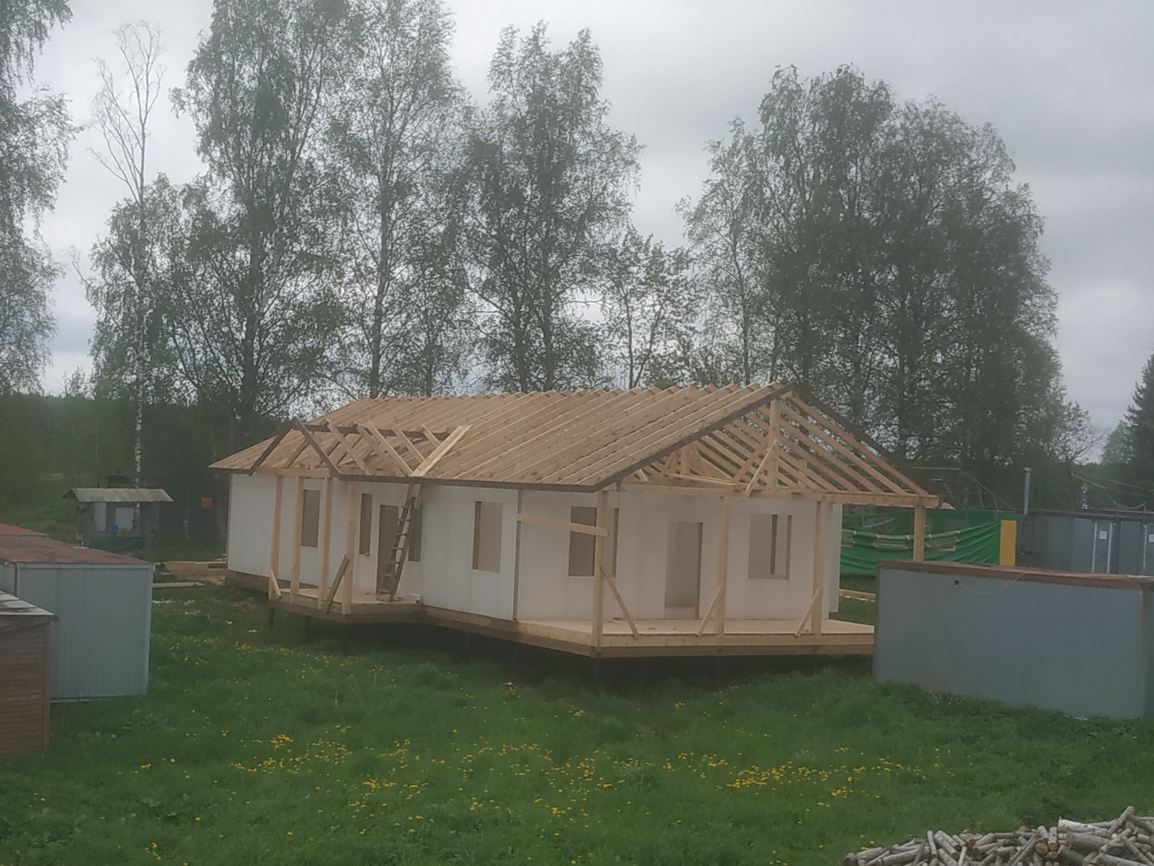 The almost completed roof joist construction for the house for adults with disabilities in Davydovo.