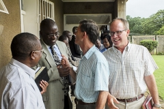 Dustin enjoys fellowship with Justo Mwale University faculty members Dr. Soko, Dr. Edwin Zulu, and Dr. Wynand Retief (Photo by Johanneke Kroesbergen)