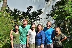 Getting some refreshment at Victoria Falls on a YAV Zambia retreat in Livingstone. From left: Olivia, John, Kim, Sherri, Dustin, Susannah
