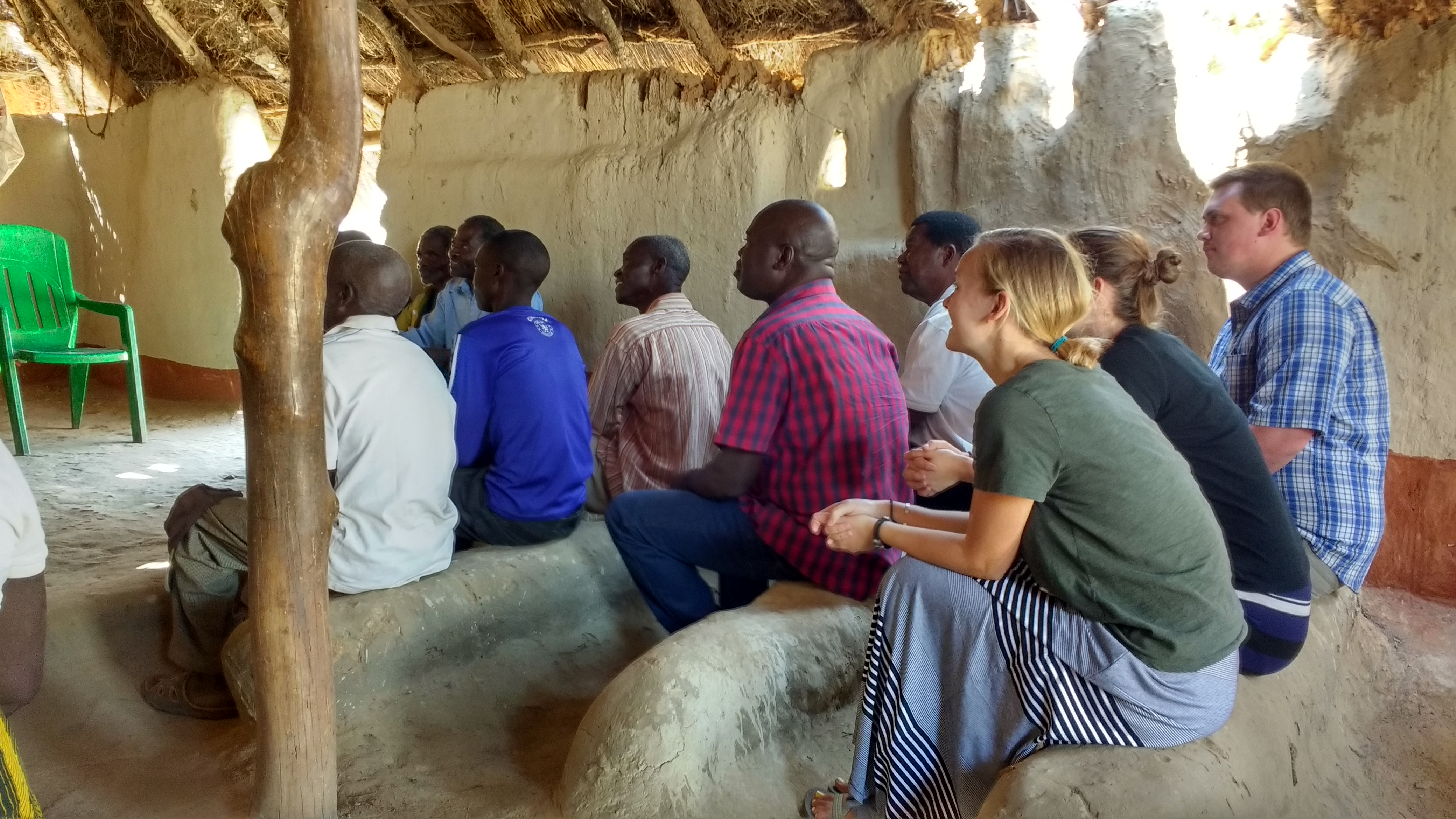 Presbyterian church, village style: The Zambia YAVs at a small village prayer house during their in-country orientation