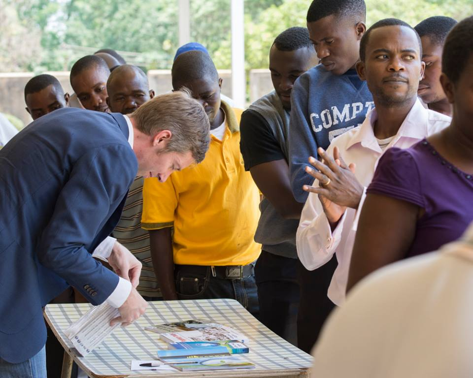 Students line up to purchase the new book, Prophecy Today: Reflections from a Southern African Context, written mostly by JMU's faculty (Photo by Johanneke Kroesbergen)