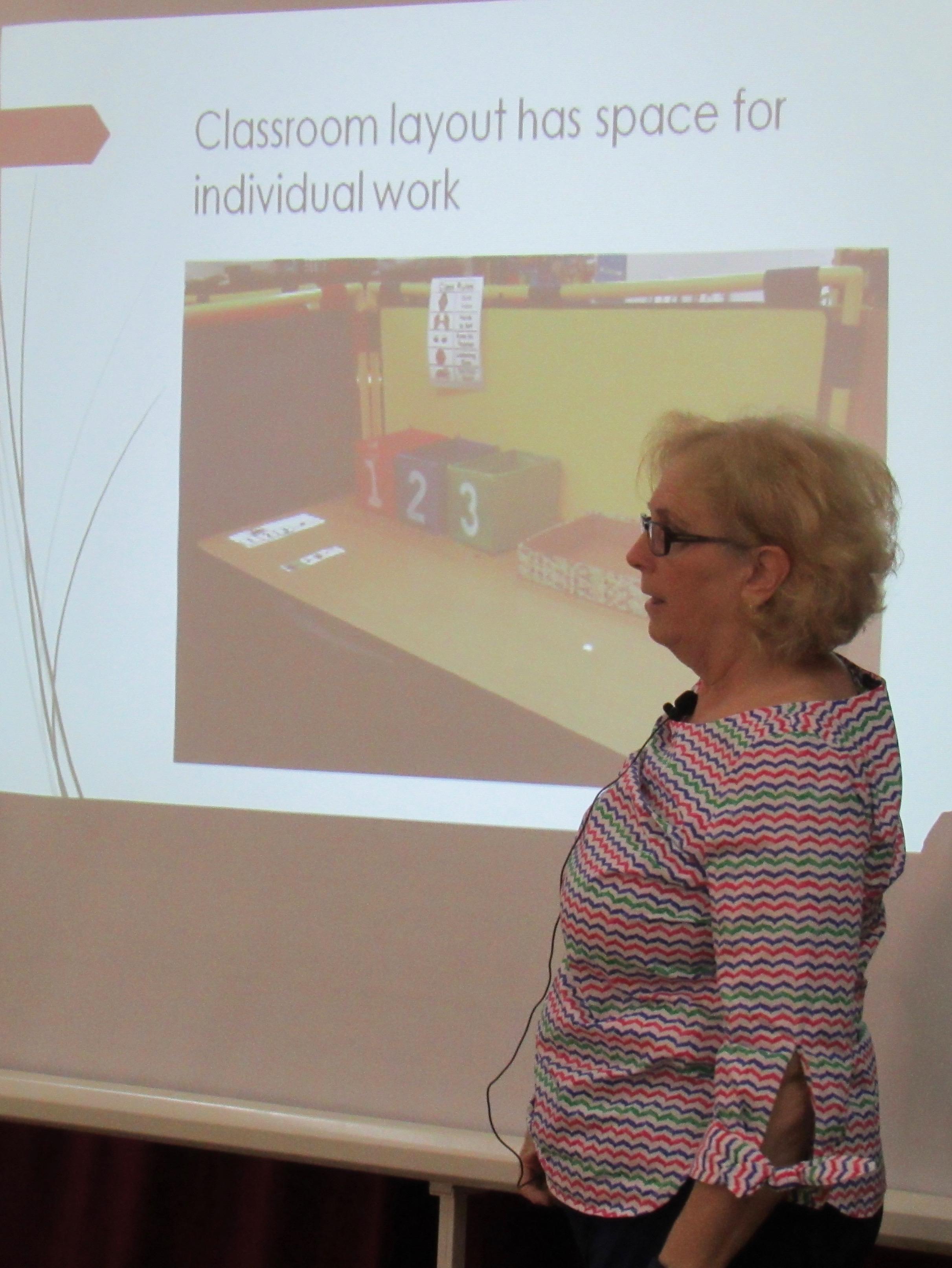Amy teaching a seminar segment.