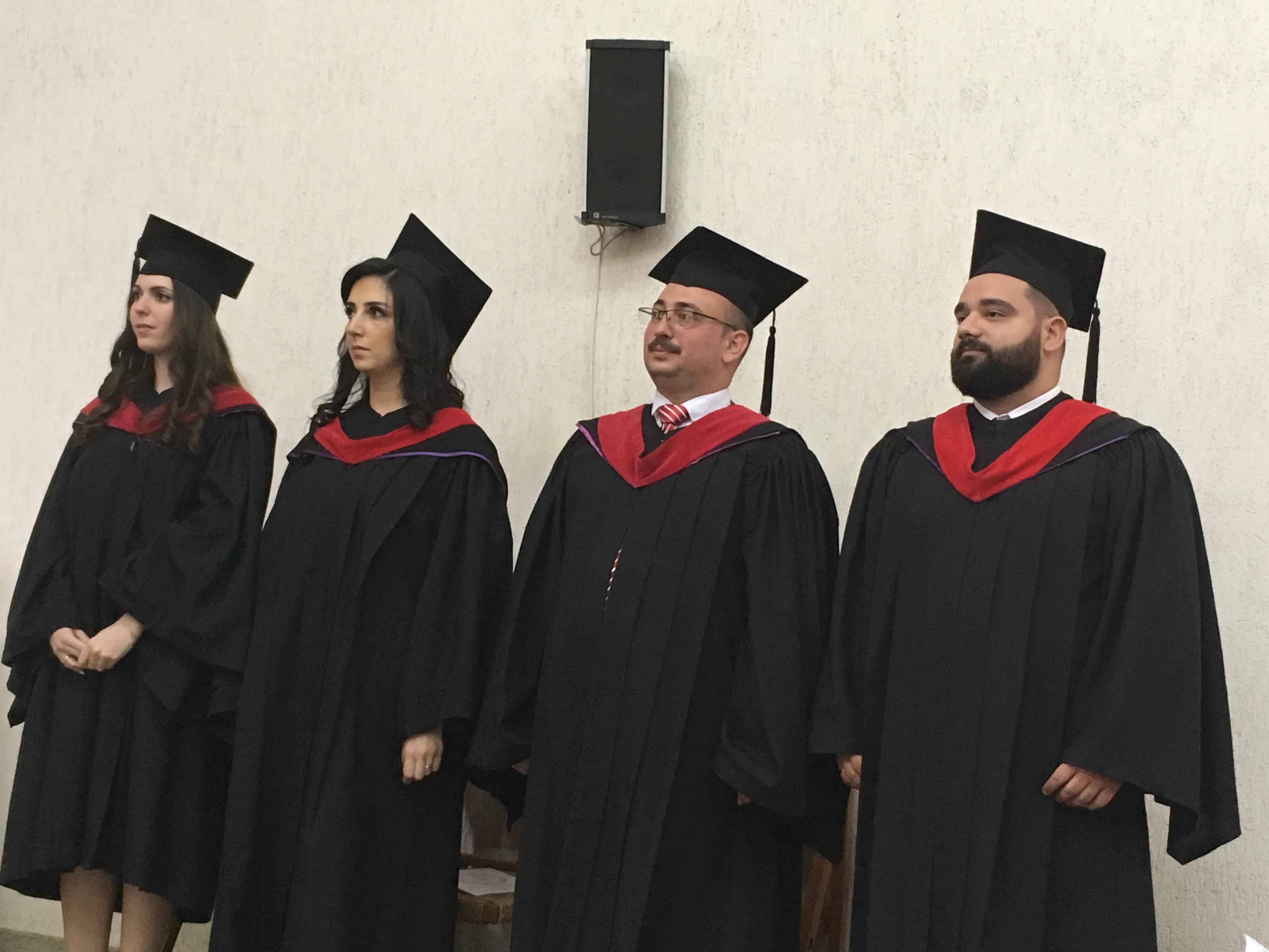 NEST's graduating class from left to right: Rose Widad Mounir Kabbas, Vana Kabrial Tanialiyan, Yousef Adnan Khasho, and Adon Nabih Naaman.