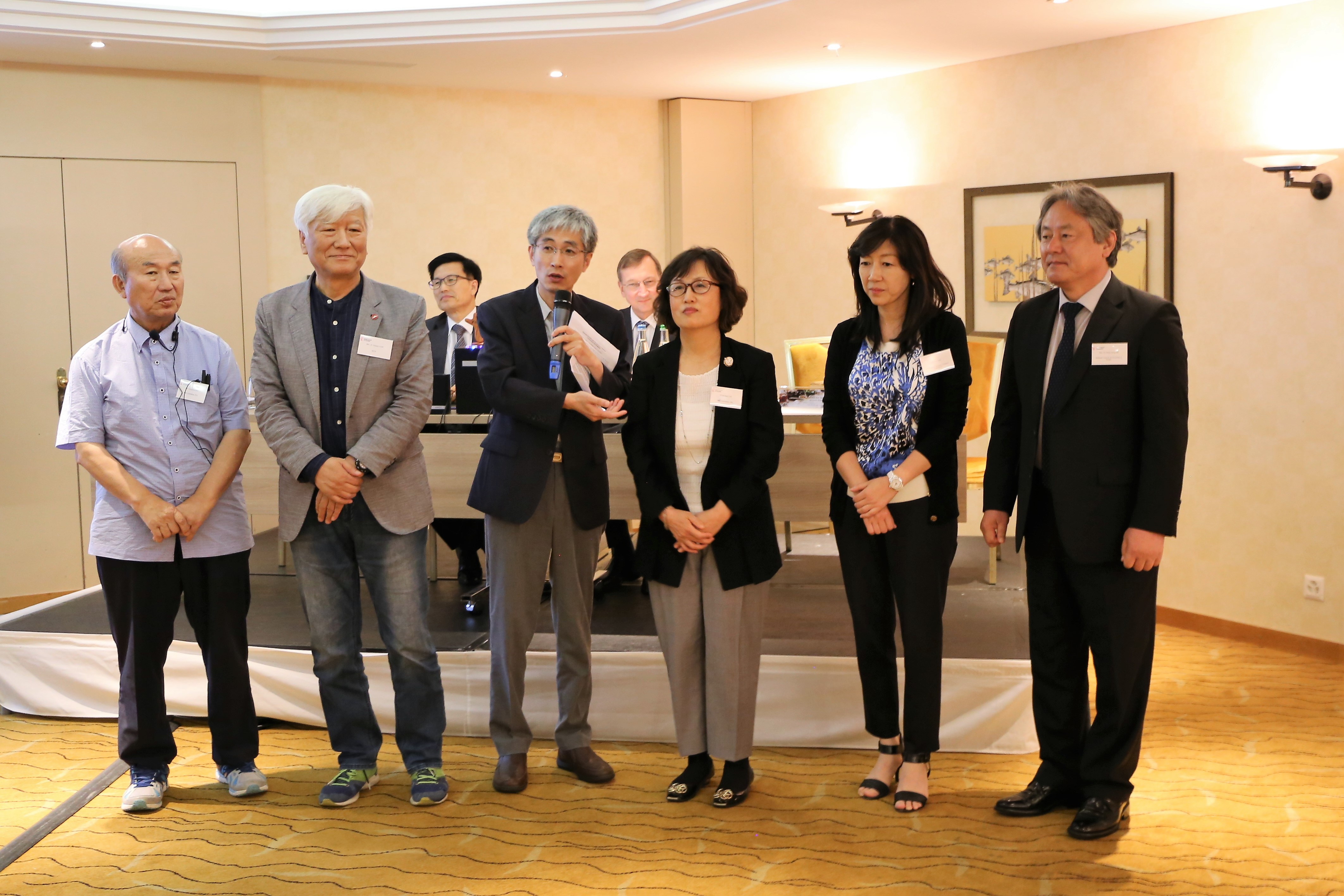 The members of the South Korean NCCK delegation are introduced.