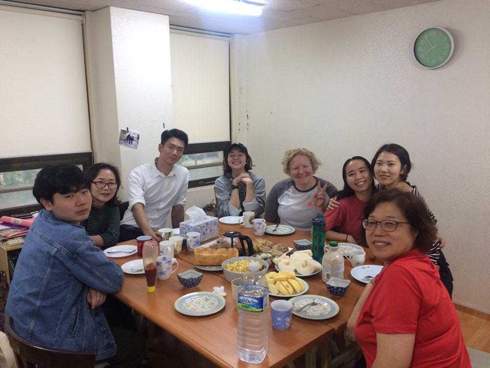 Fellowship with young adults group at Sung Am church.