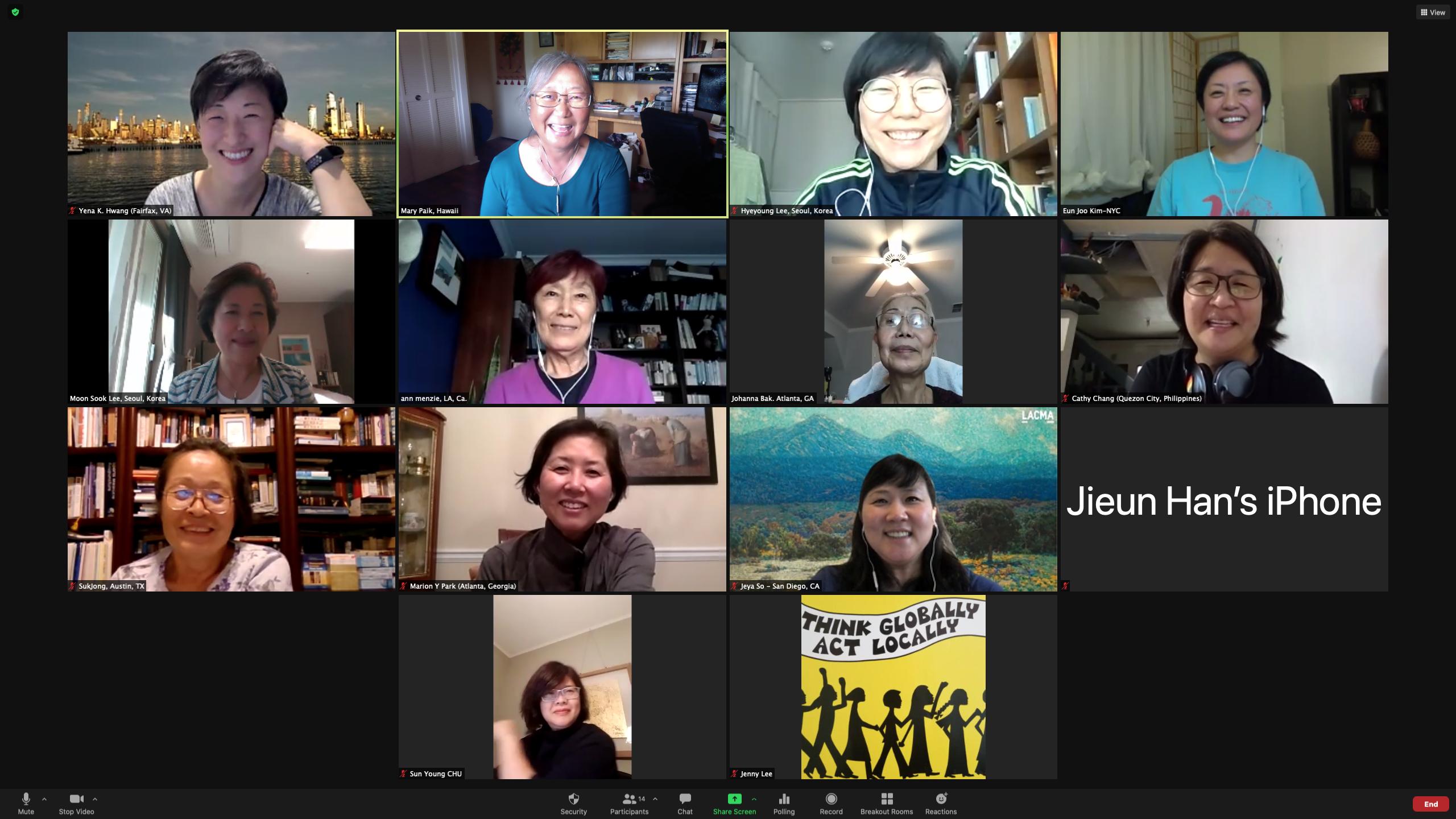 Hyeyoung facilitates a virtual conference with Korean American Presbyterian Clergy Women (KAPCW). Photo Credit: Mary Paik