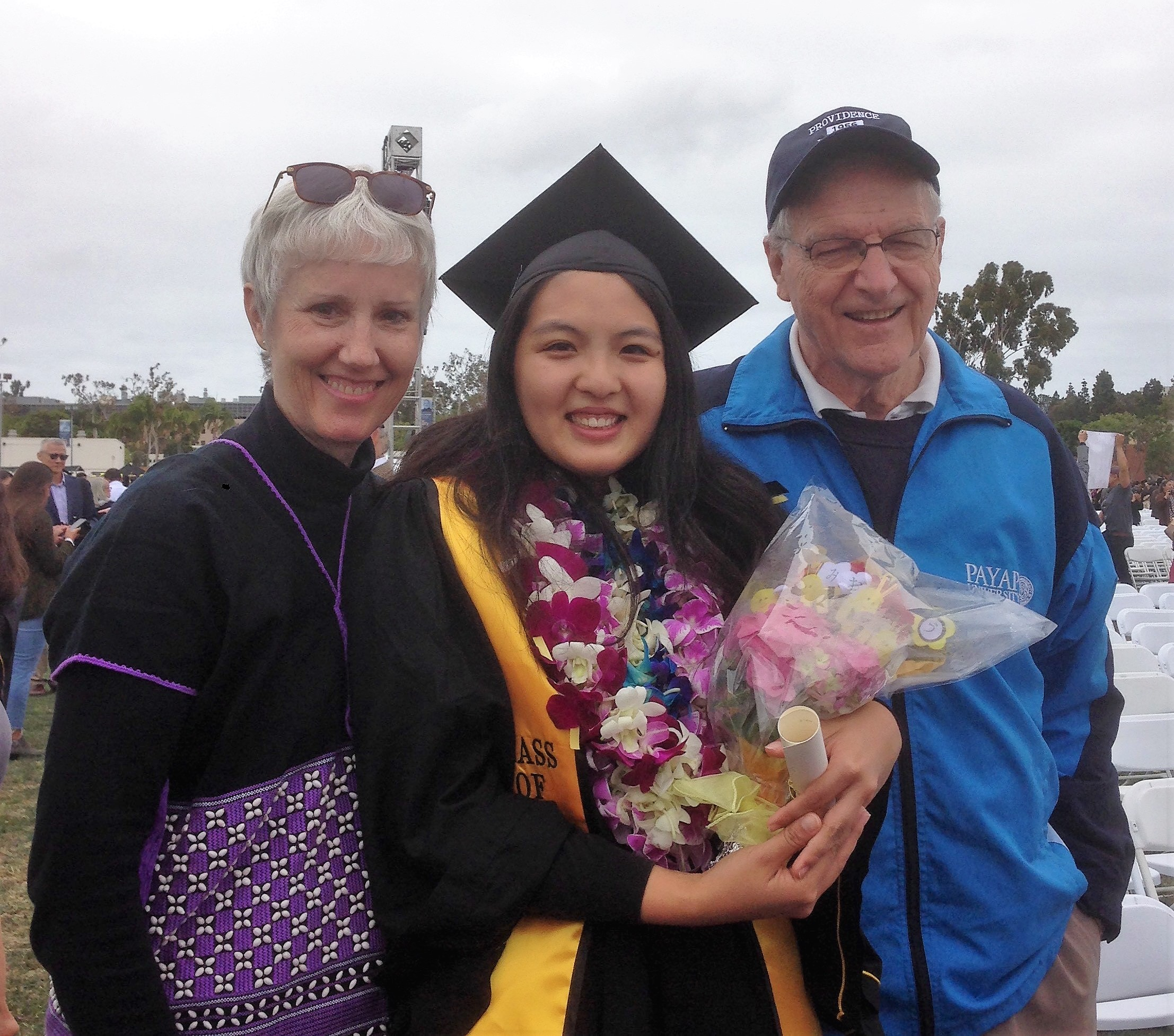 A highlight — celebrating the graduation of Naomi from Cal State Long Beach. She lived with us for a year so she could graduate from Chiang Mai International School.