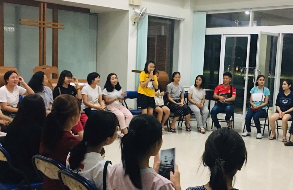 Christian students and their friends gather for fellowship.