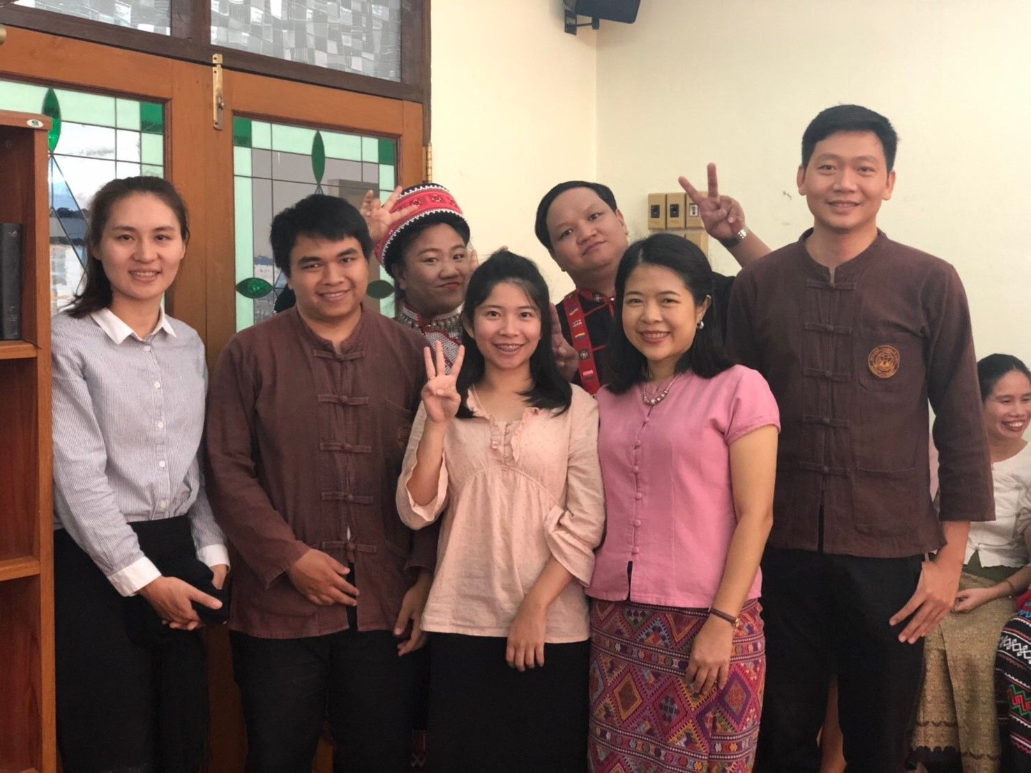 Seven wonderful MDiv students eagerly joining with Jesus in his mission in the world. In the last photo, they are making little hearts with their fingers and thumbs!