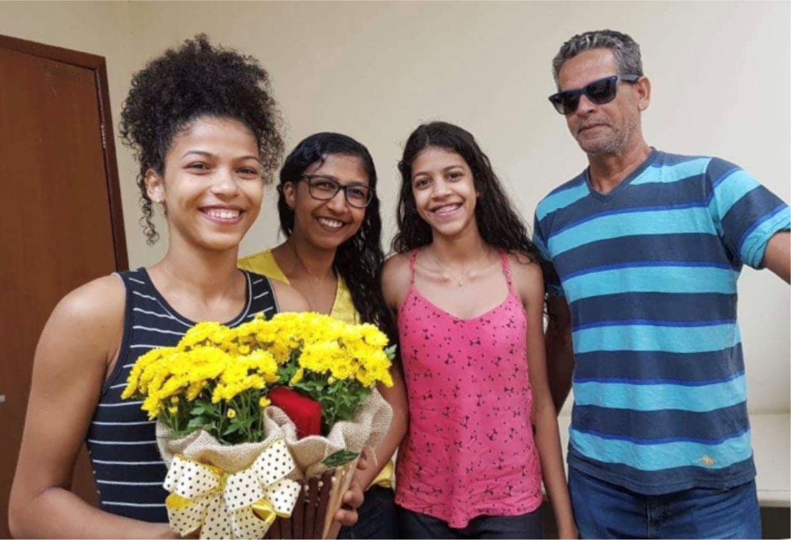Veronica's family (from left): Liza, Veronica, Bruna, and Veronica's husband, Ismauro.