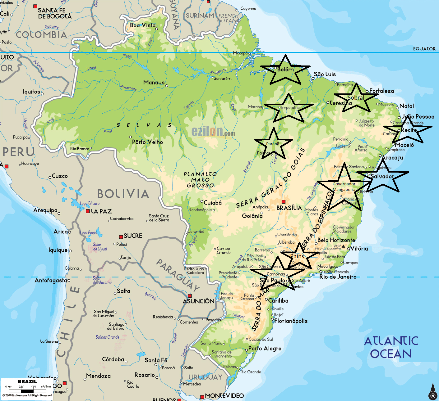 A map of Brazil with all the places we lived. Our son made this map because each place was life-changing to him.
