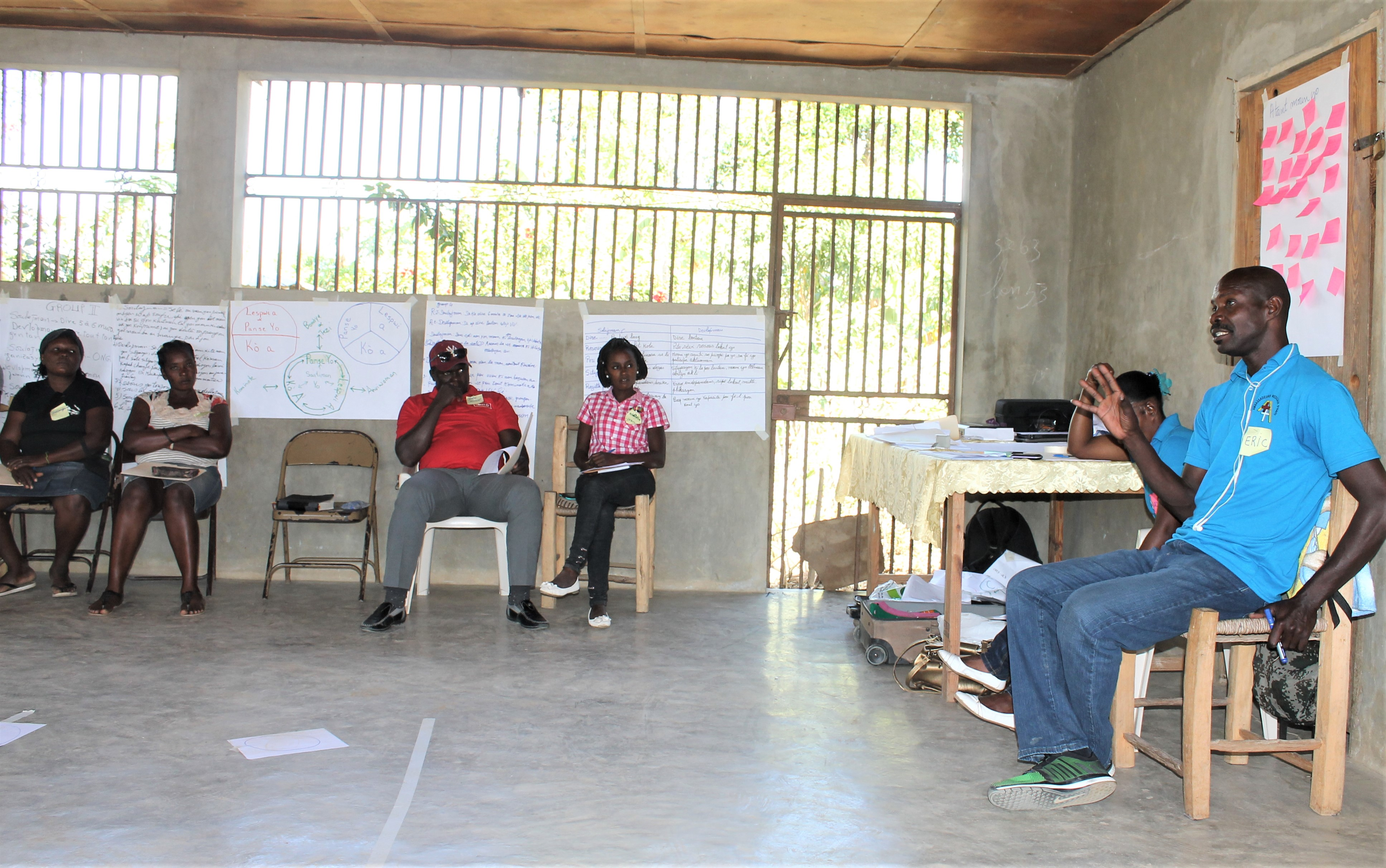 Eric from Medical Ambassadors of Haiti, leading one of the CHE workshop sessions, held in Ecovillage 1 in January 2019.