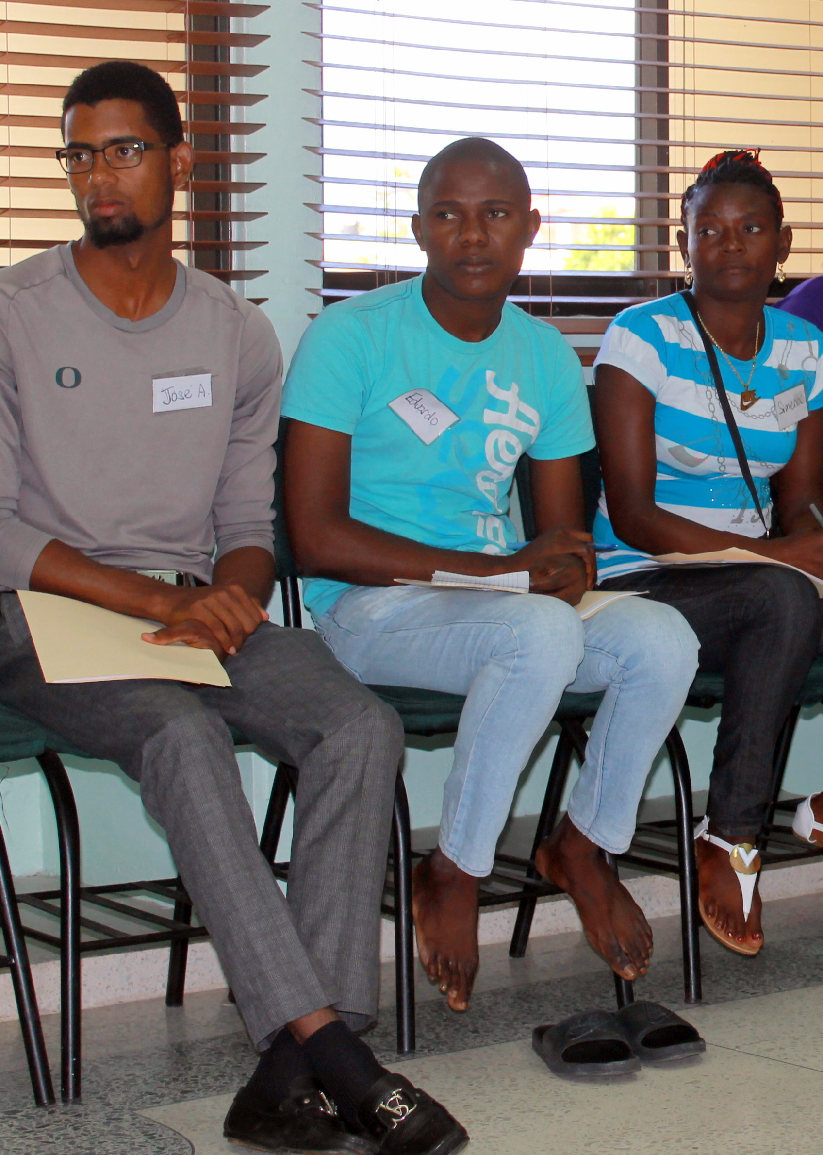 José (far left) from Batey 7 participating in a workshop with two new members of the Batey 7 committee in August 2017. José took advantage of a break from his studies at the Adventist University to receive CHE training (Training for Trainers 1) together with Eduardo (center) and Simena (far left).