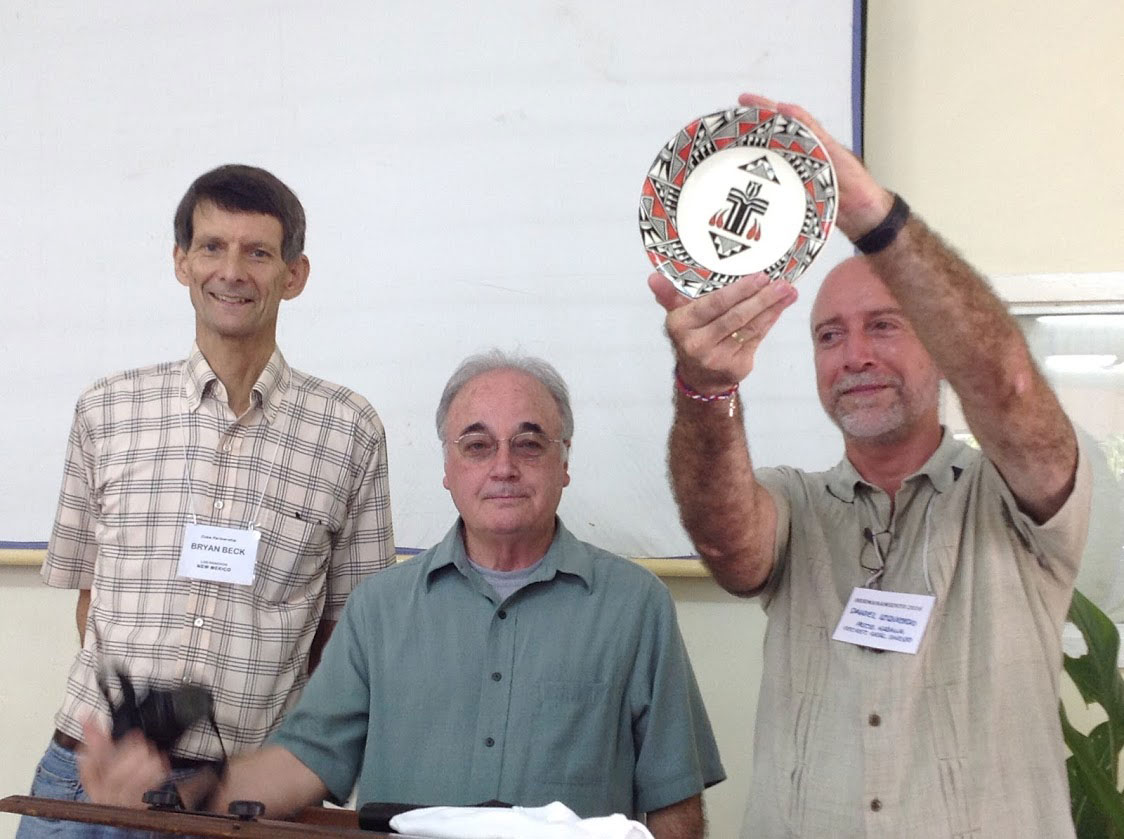 Bryan Beck and Tony Aja of Santa Fe Presbytery present a commemorative plate to Rev. Daniel Izquierdo to celebrate their long-standing partnership with the Synod of the Presbyterian-Reformed Church in Cuba.