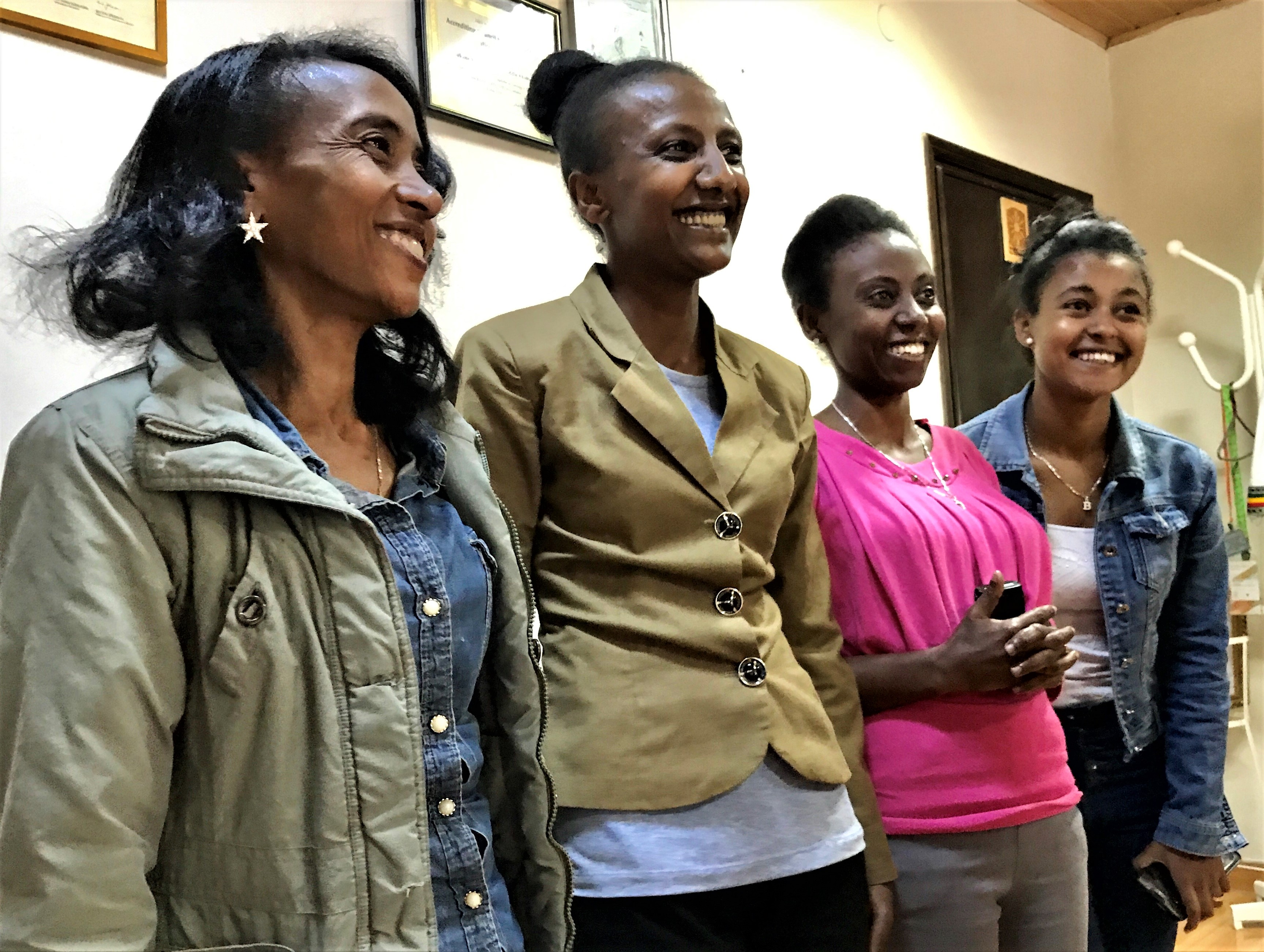 Young women being supported by the Presbyterian Church (USA). From left, Ebise Jabesa Nemera, Mariam Jirata, Almaz Kebed, Mekedes Tadess.
