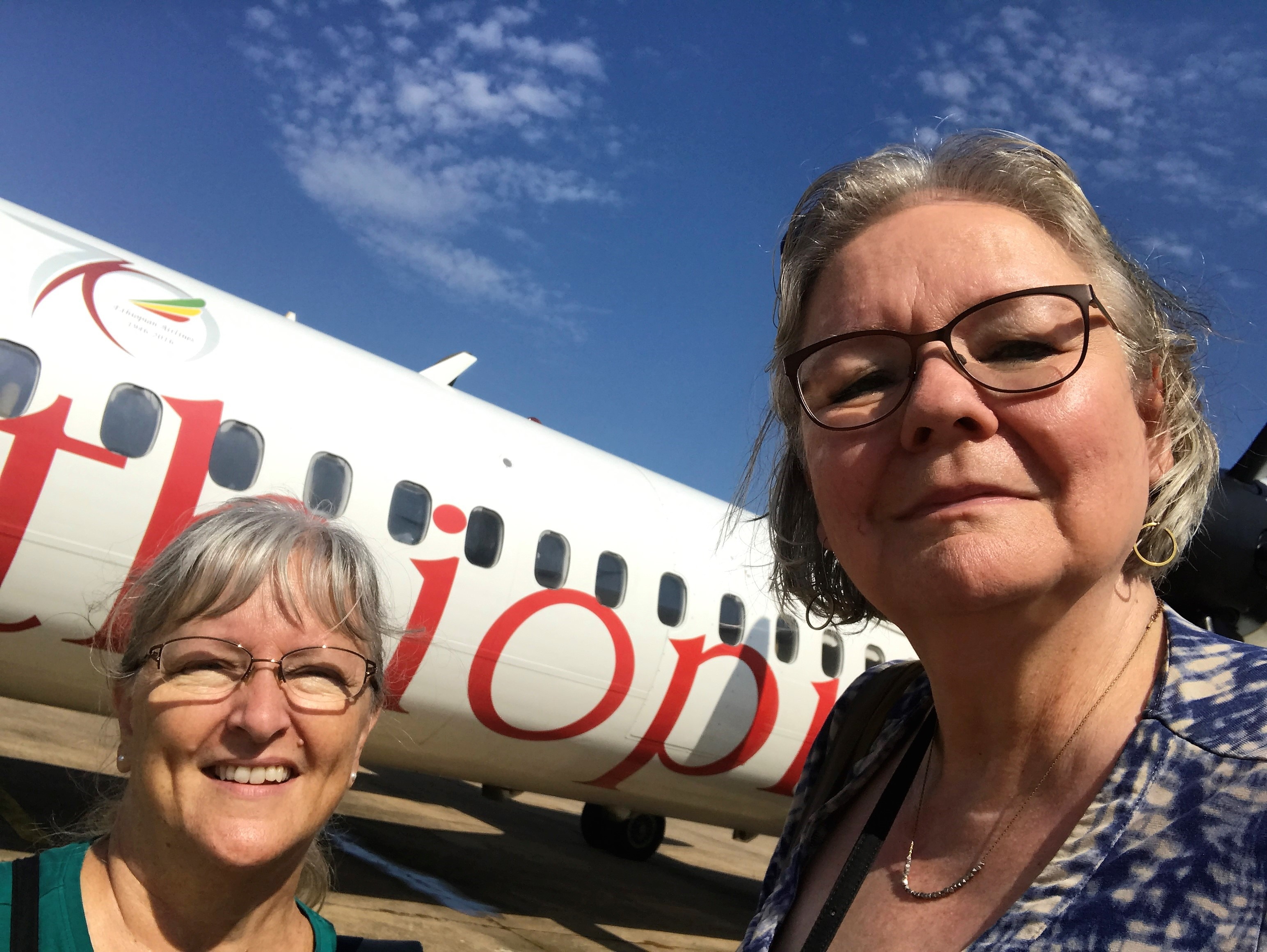 Sharon Kandel and Janet Guyer the airport. (I need to learn to take better selfies).