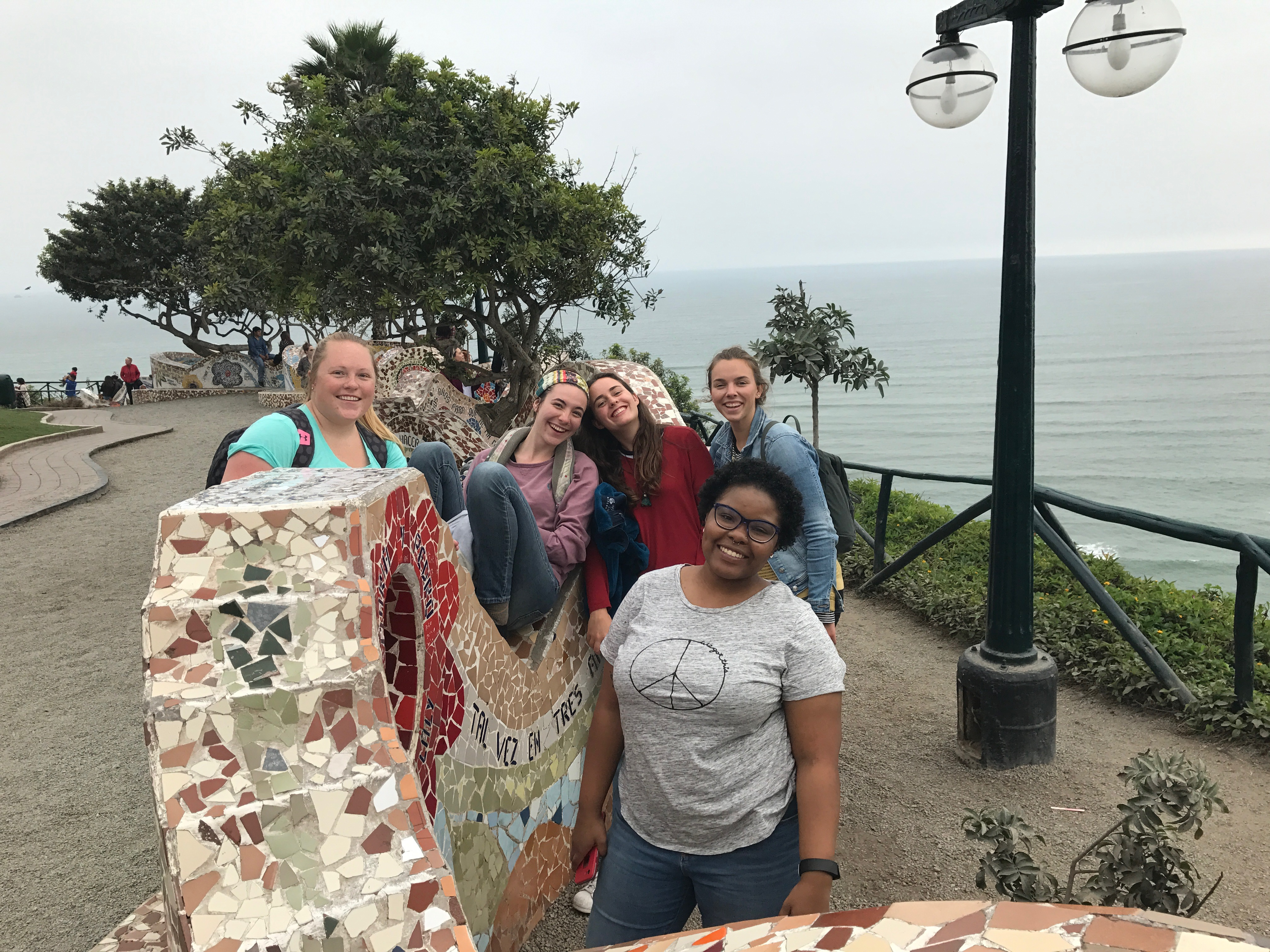 The 2017-2018 Young Adult Volunteers gather in Lima for orientation and quarterly retreats to build Christian community, reflect on their experiences and discern God´s call on their lives. From left to right (back): Kristen Trohkimoinen, Alyson Miller, Katie Hastings, Megan Koeneman; (front) Mielan Barnes. (Photo by Jed Koball)