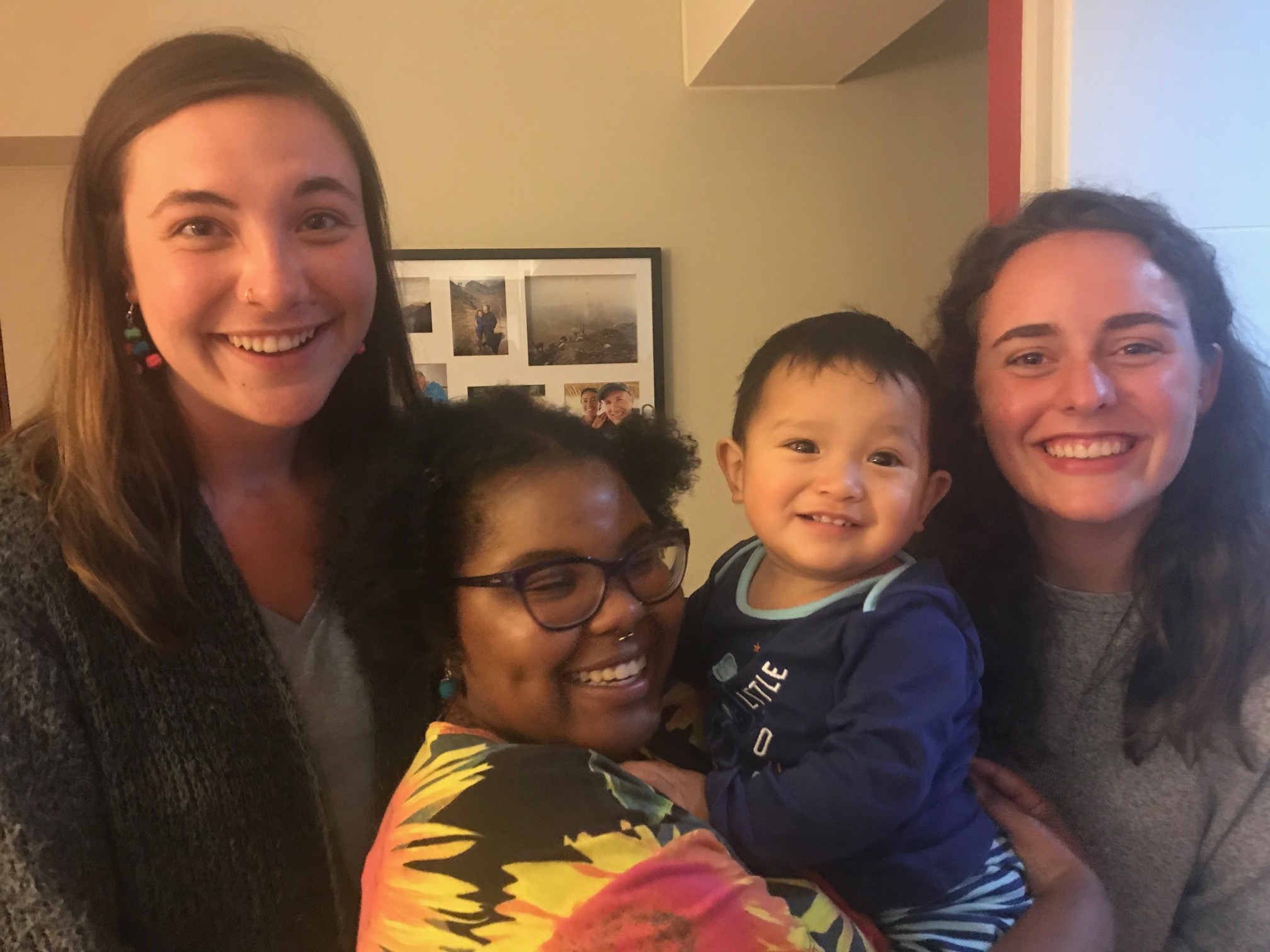 The Young Adult Volunteers have played a special role in the lives of host families as well as our family. Here three former YAVs say good-bye to our son Thiago before returning to the U.S.