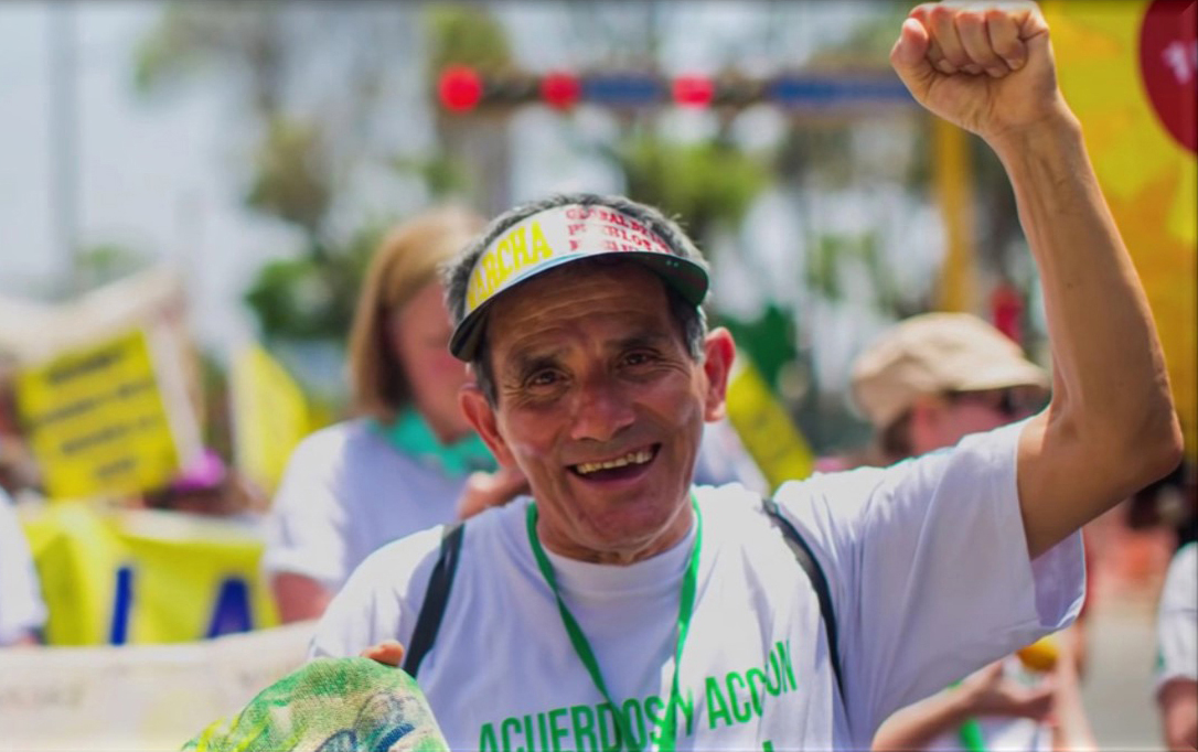 Conrado Olivera leads the march for environmental justice in Peru. After twenty years of service with global partner Red Uniendo Manos Peru, Conrado will be retiring this year.