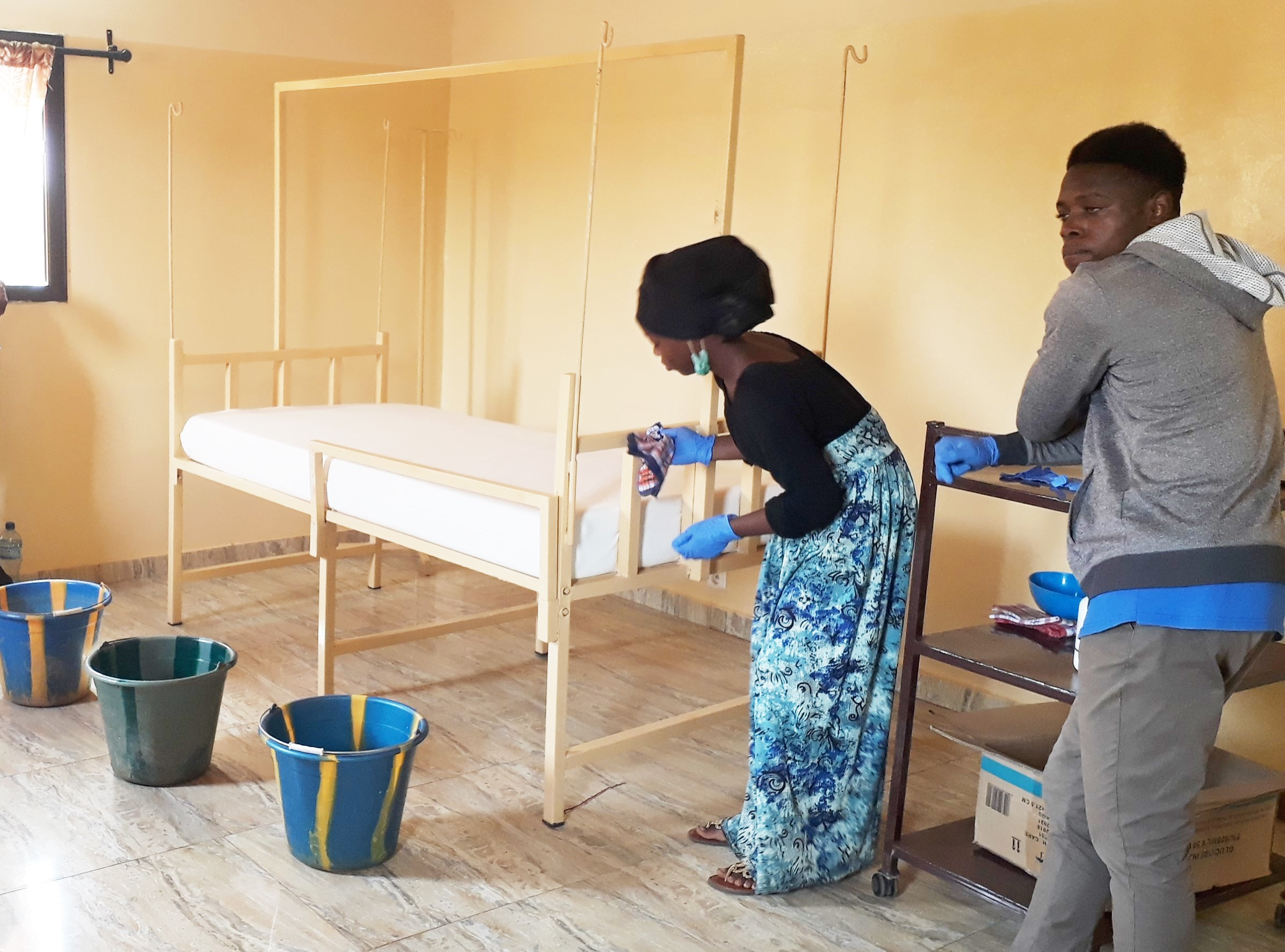Bed disinfection is one of many practical skills nursing students have to practice before continuing their training in hospitals and clinics.