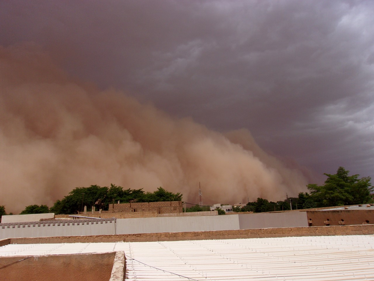 Taken from the roof of our home in Niamey, this is the beginning of a dust storm during the Harmattan season. The dust is often followed by very welcome rain.