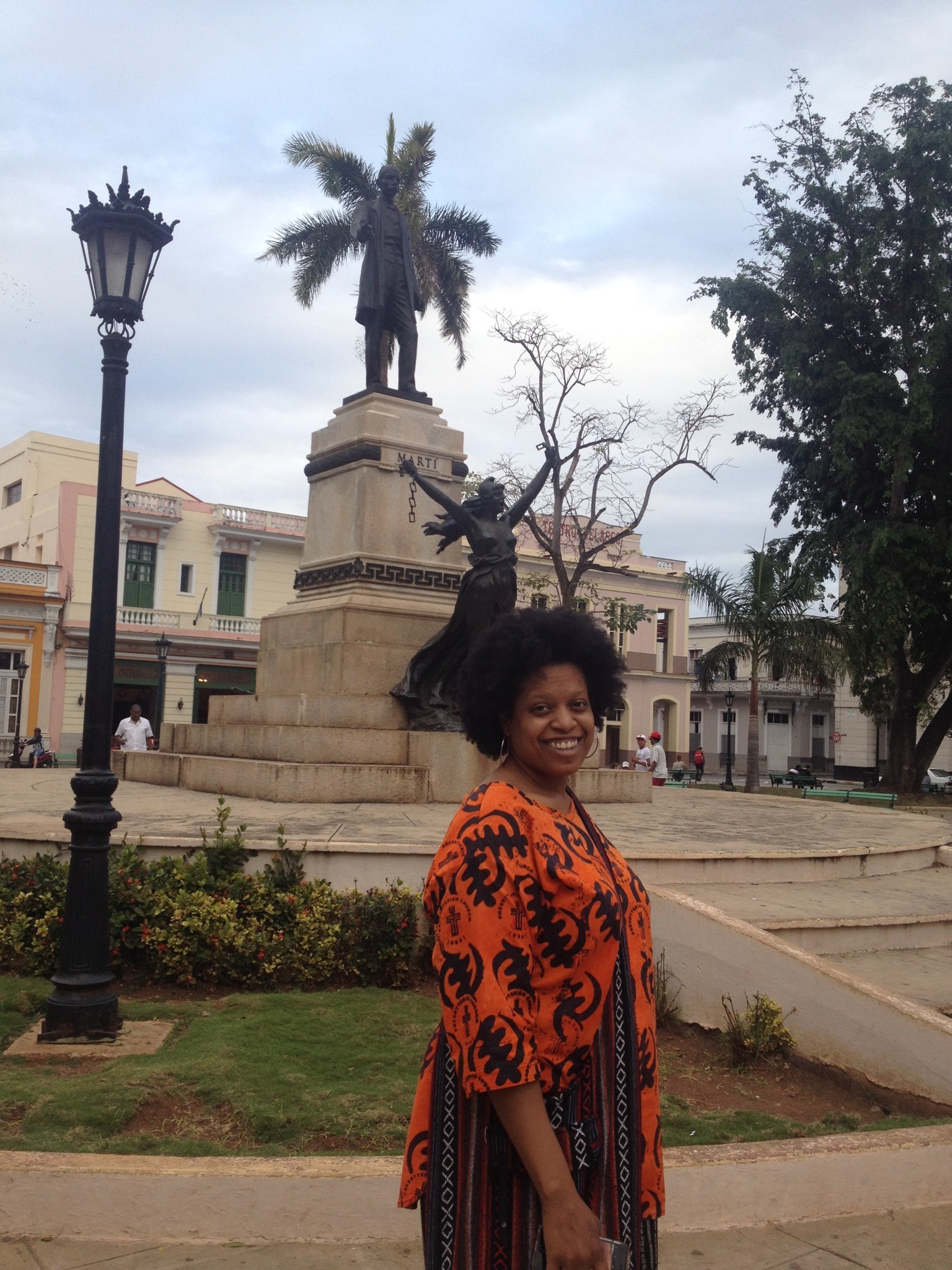 General Assembly Co-Moderator, the Rev. Denise Anderson, in Havana, with a statue of Cuban hero José Martí and Lady Liberty.