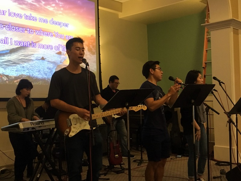 Taiwanese American young people leading worship.