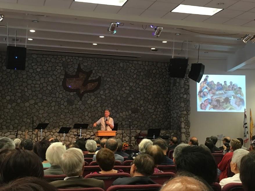 Preaching at Taiwanese American church retreat.