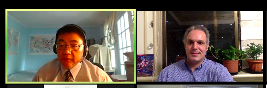 Jonathan and Rev. Samson Tso do a sermon talkback during online worship with Homecrest Presbyterian Church in Brooklyn.