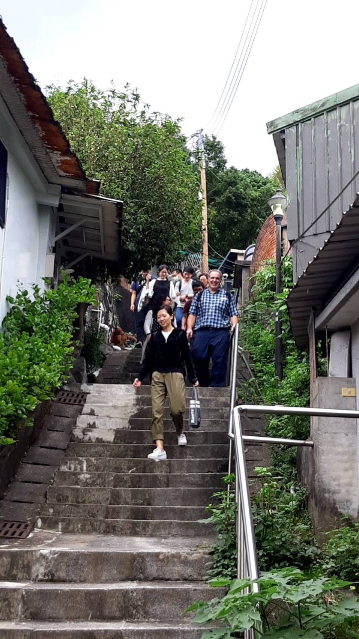 "Walking with Taiwan Seminary students down the ""500 steps"" leading into town."