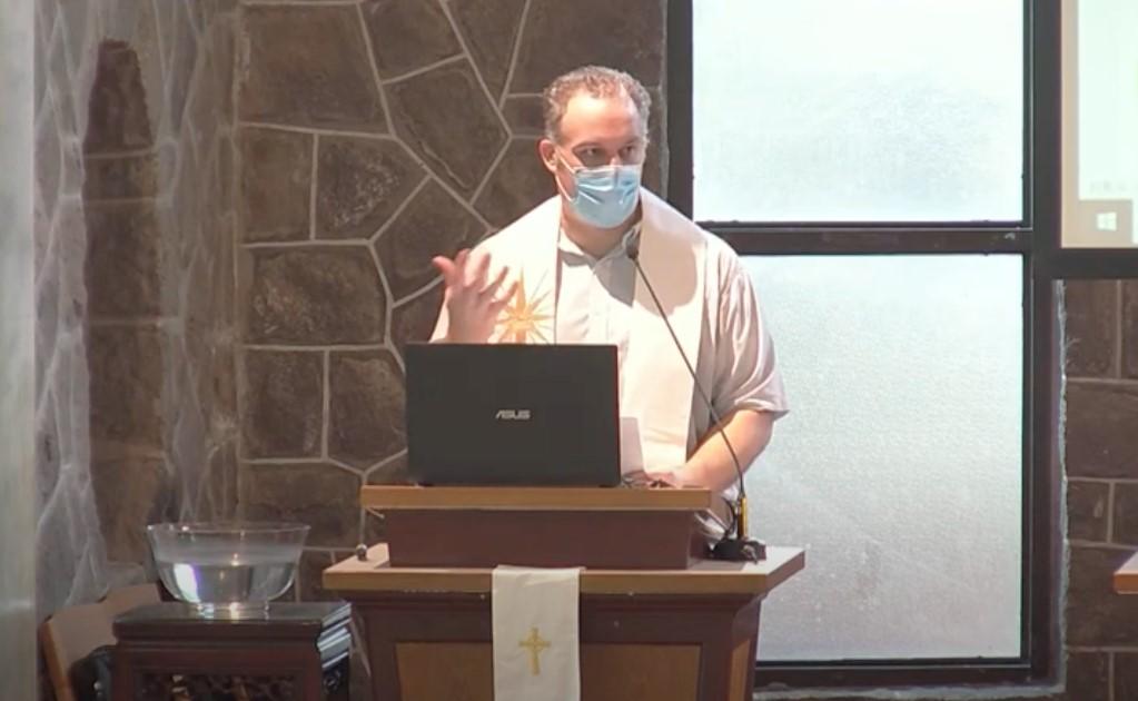 Jonathan preaching at an online service at the Taiwan Seminary chapel