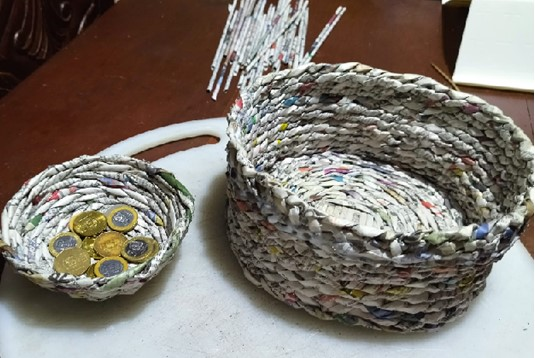 Baskets made from banana twine